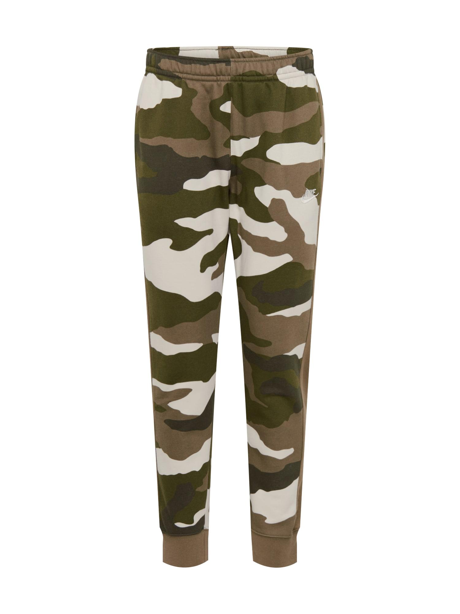 Nike Sportswear Kelnės 'M NSW CLUB JGGR BB CAMO' smėlio / alyvuogių spalva