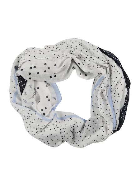Schals für Frauen - TOM TAILOR DENIM Schlauchschal in Patchwork Optik kobaltblau weiß  - Onlineshop ABOUT YOU