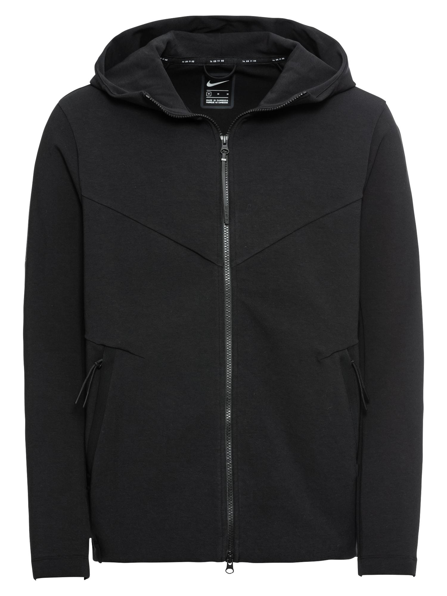 Přechodná bunda M NSW TCH PCK HOODIE FZ KNIT černá Nike Sportswear