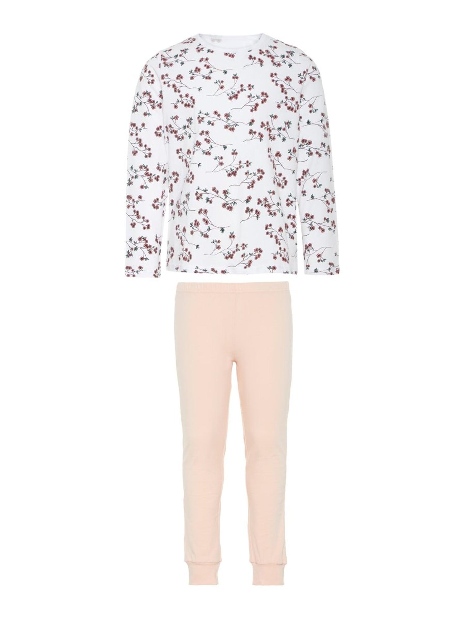 NAME IT Miego kostiumas 'BRIGHT WHITE' persikų spalva / melionų spalva / balta