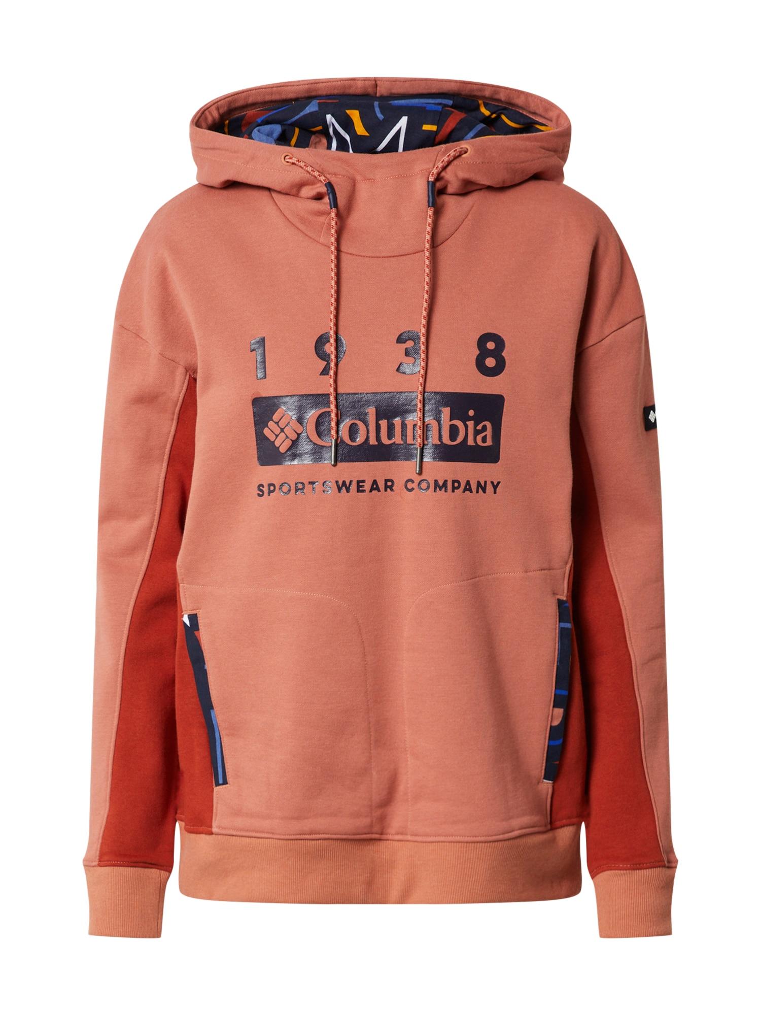 COLUMBIA Sportinio tipo megztinis raudona / tamsiai mėlyna