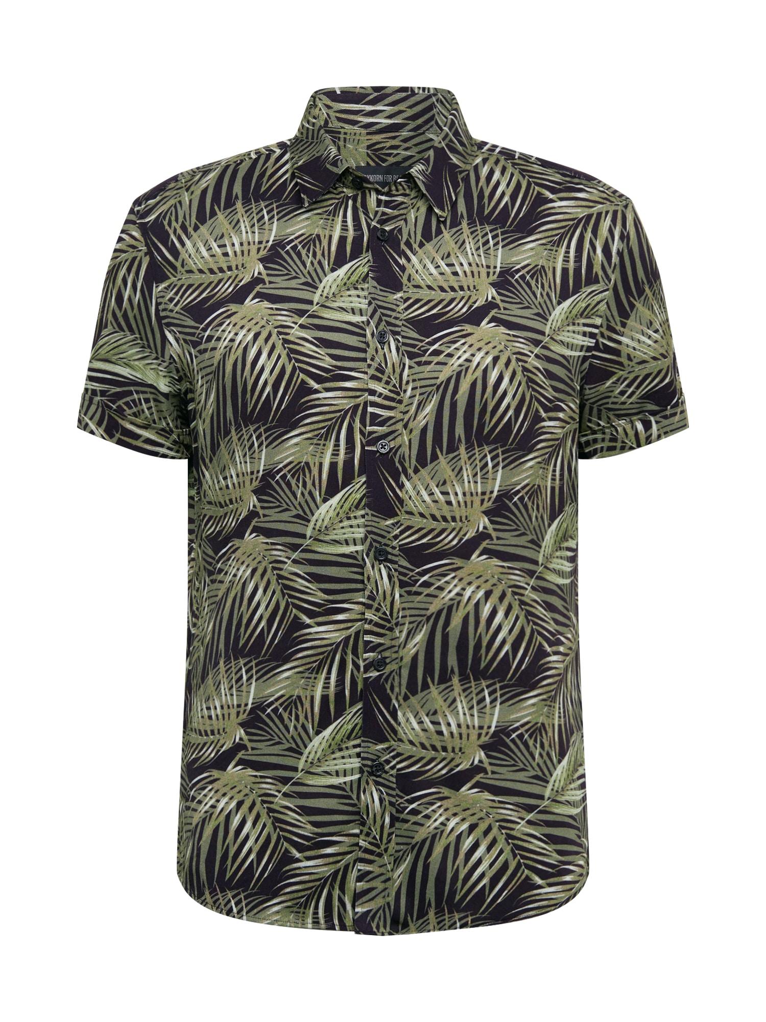 DRYKORN Dalykiniai marškiniai 'FENNO' žalia / mišrios spalvos