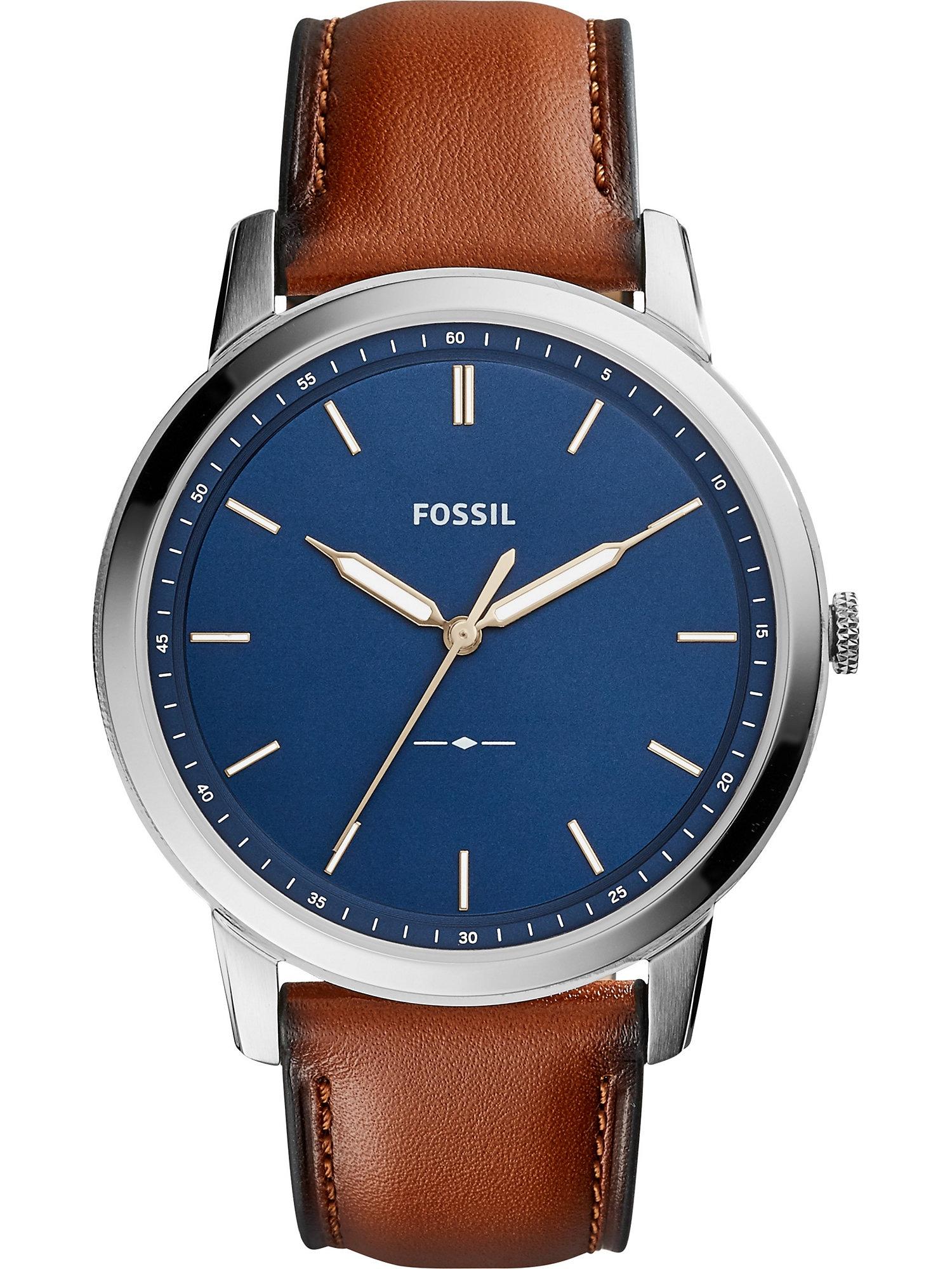 FOSSIL Analoginis (įprasto dizaino) laikrodis ruda / sidabrinė / tamsiai mėlyna