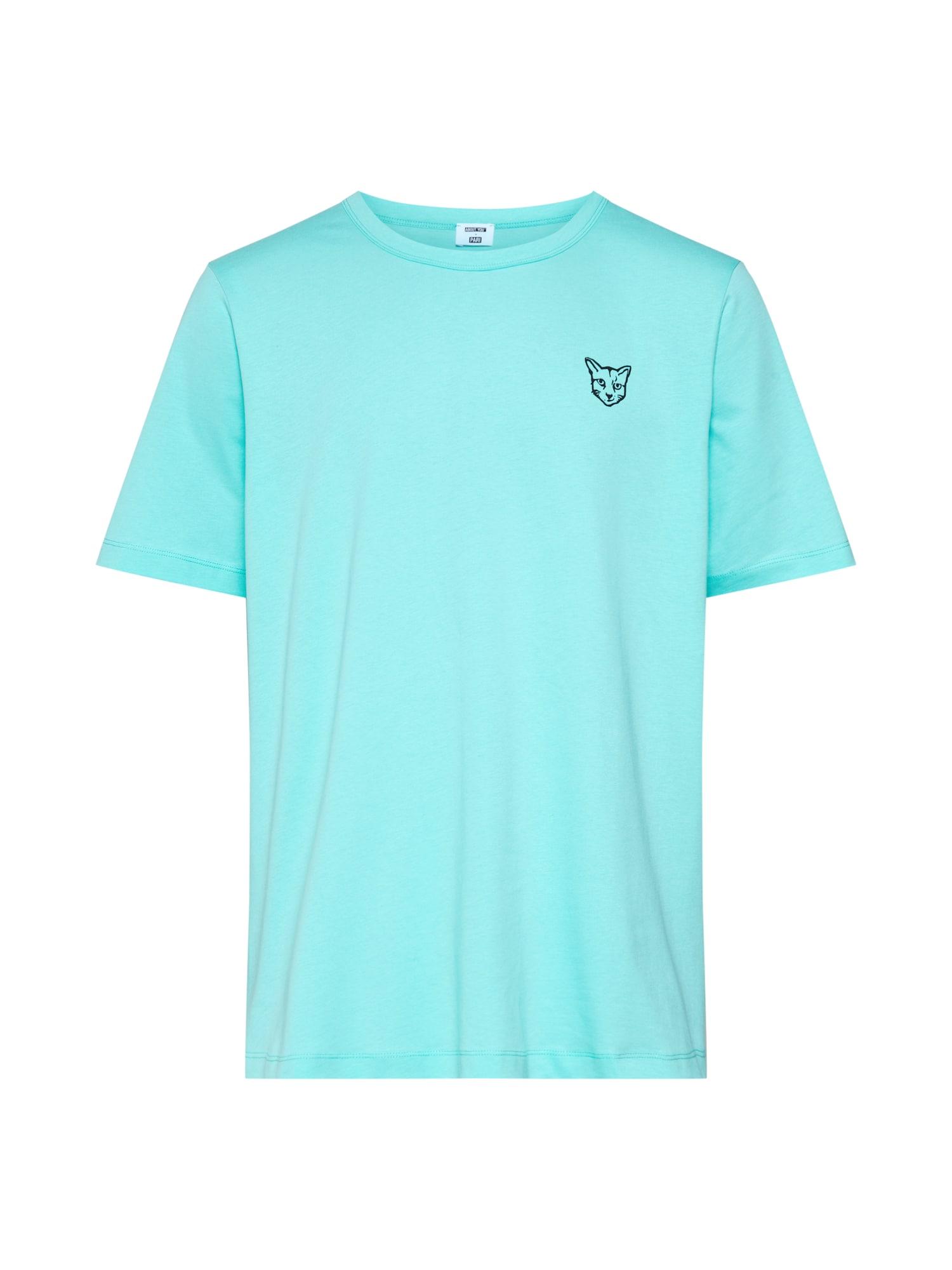PARI Tričko 'Jim'  tyrkysová / čierna