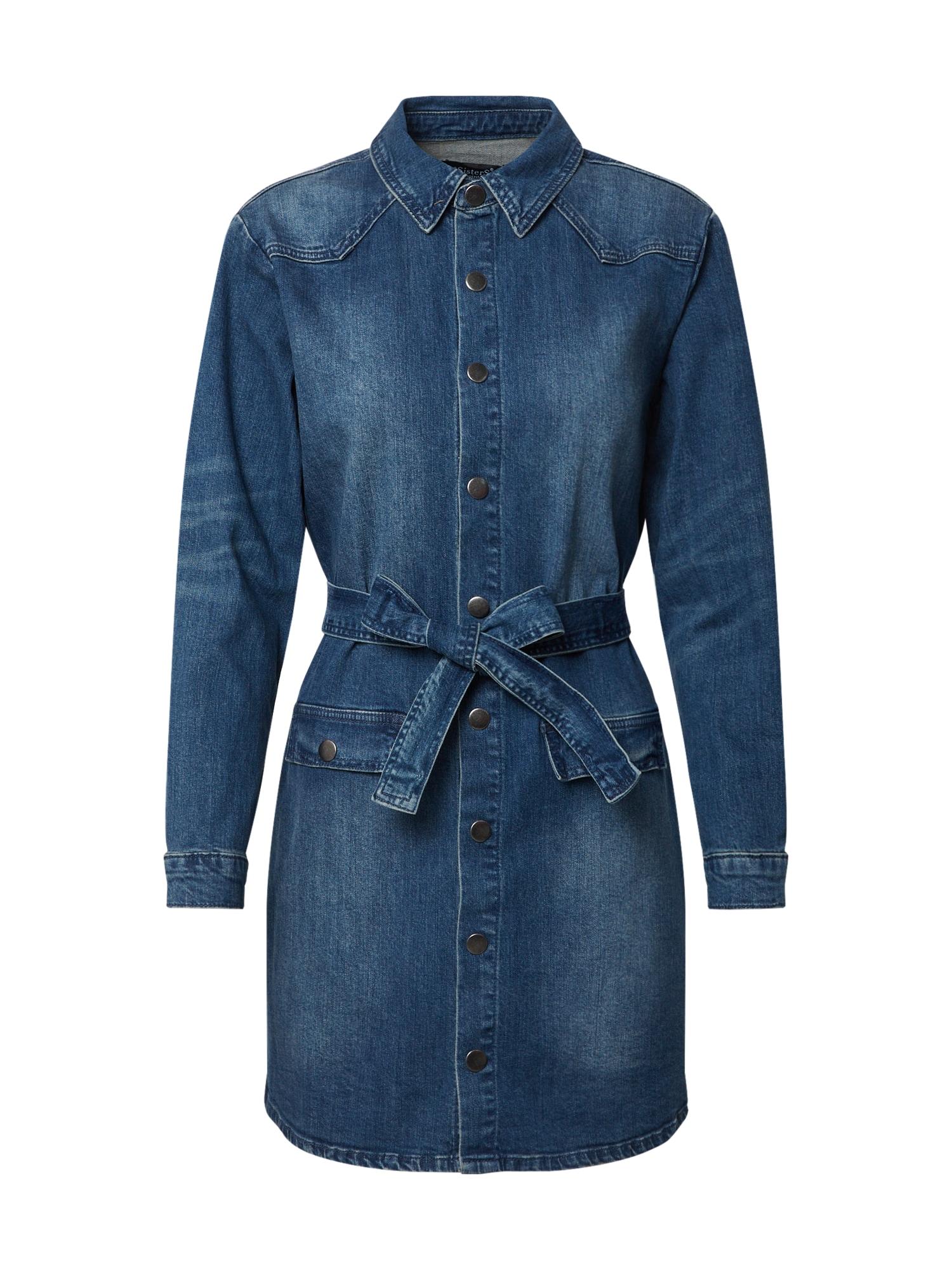 SISTERS POINT Prechodný kabát 'FRIDA'  modrá denim