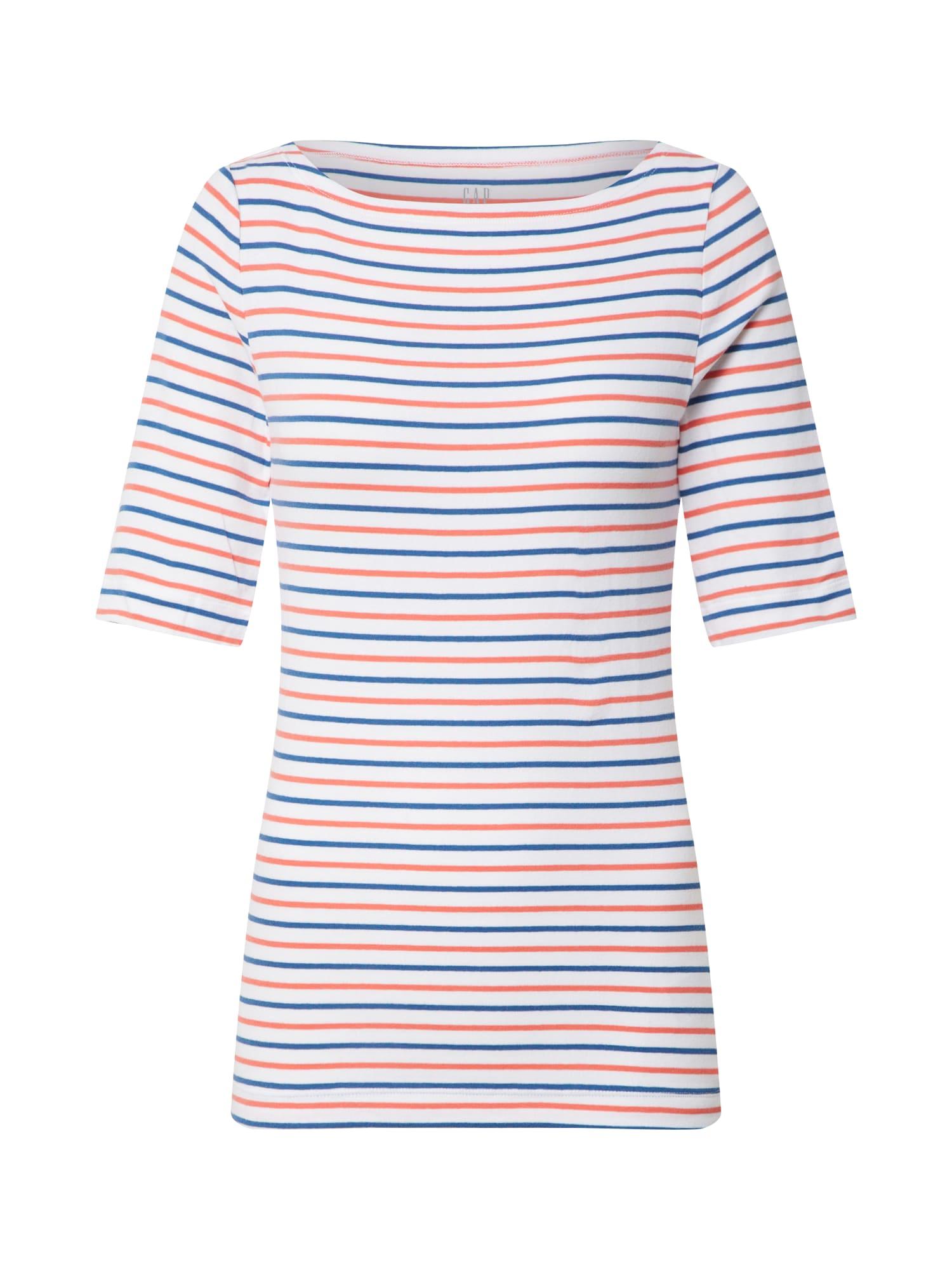 GAP Marškinėliai 'V-SS FAV ELB BOATNK STR' balta / tamsiai mėlyna / raudona