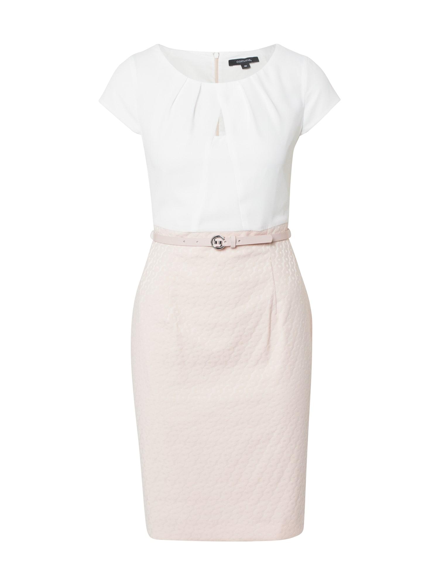 COMMA Trumpa kokteilinė suknelė balta / smėlio / ryškiai rožinė spalva