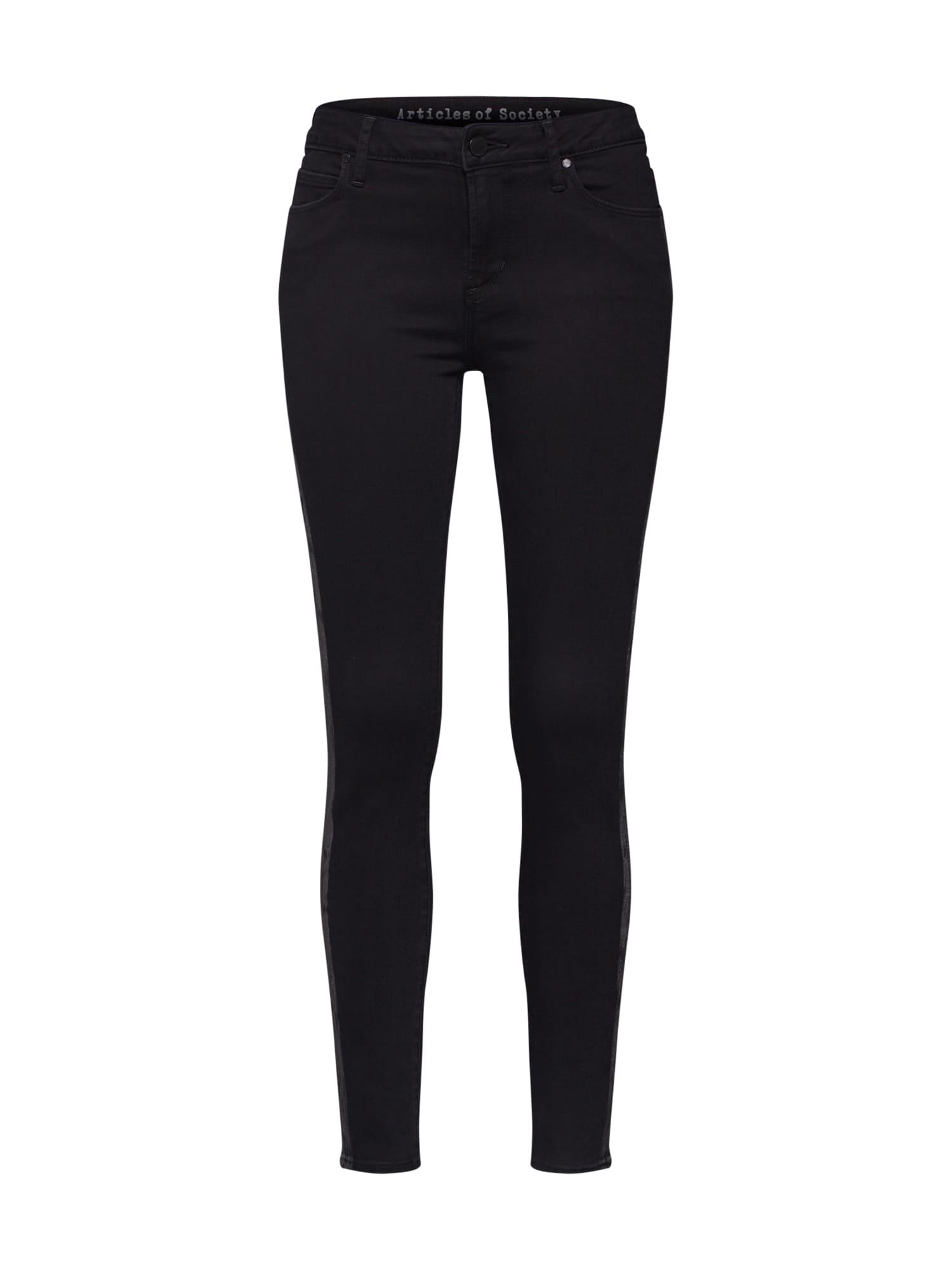 Articles of Society Kelnės 'Sarah Ankle Skinny Bailey' juoda / sidabras