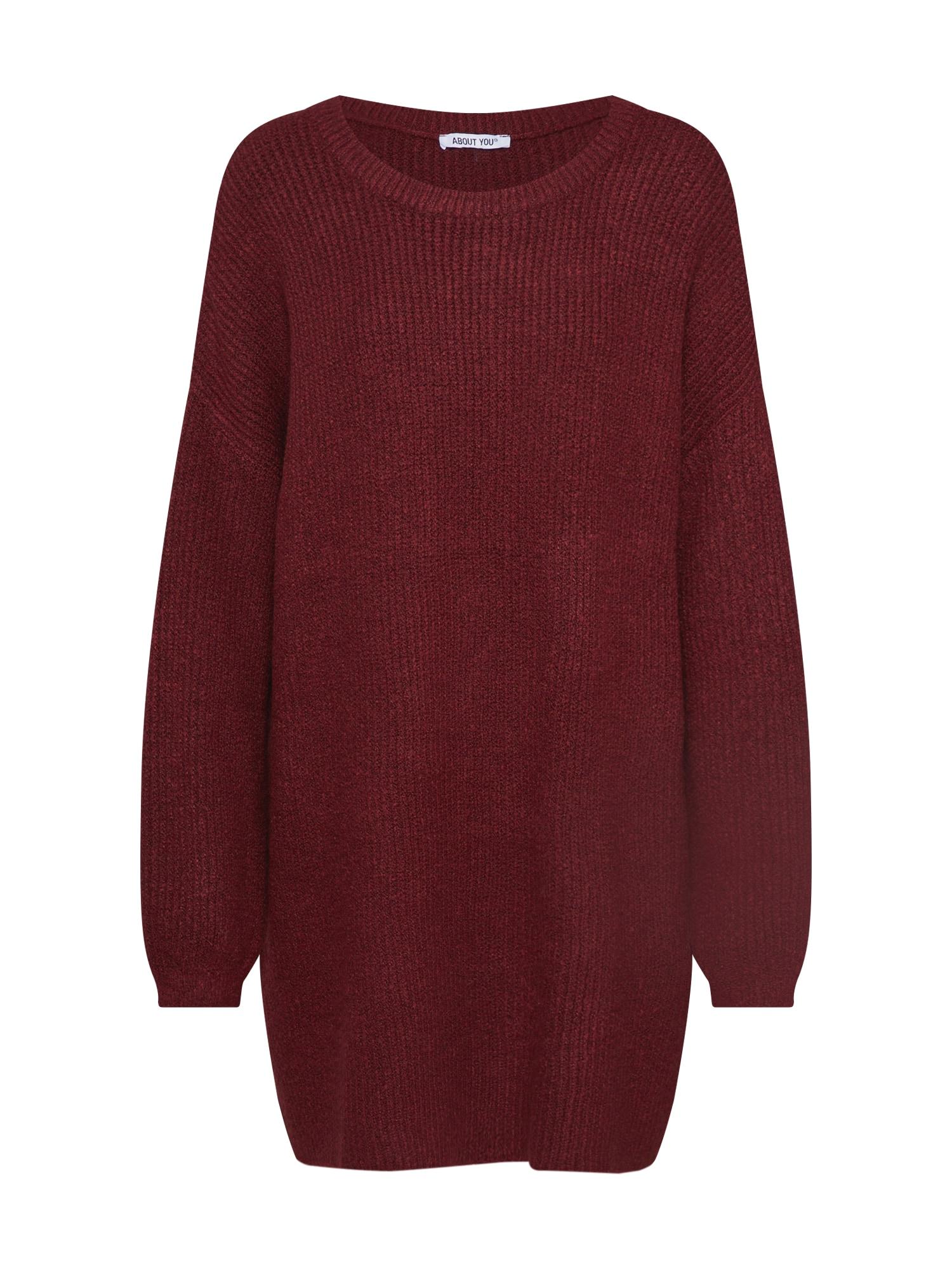 ABOUT YOU Laisvas megztinis 'Mina' vyno raudona spalva