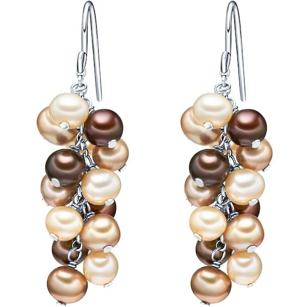 Ohrringe für Frauen - Valero Pearls Silberohrhänger mit Süßwasser Zuchtperlen beige kastanienbraun  - Onlineshop ABOUT YOU