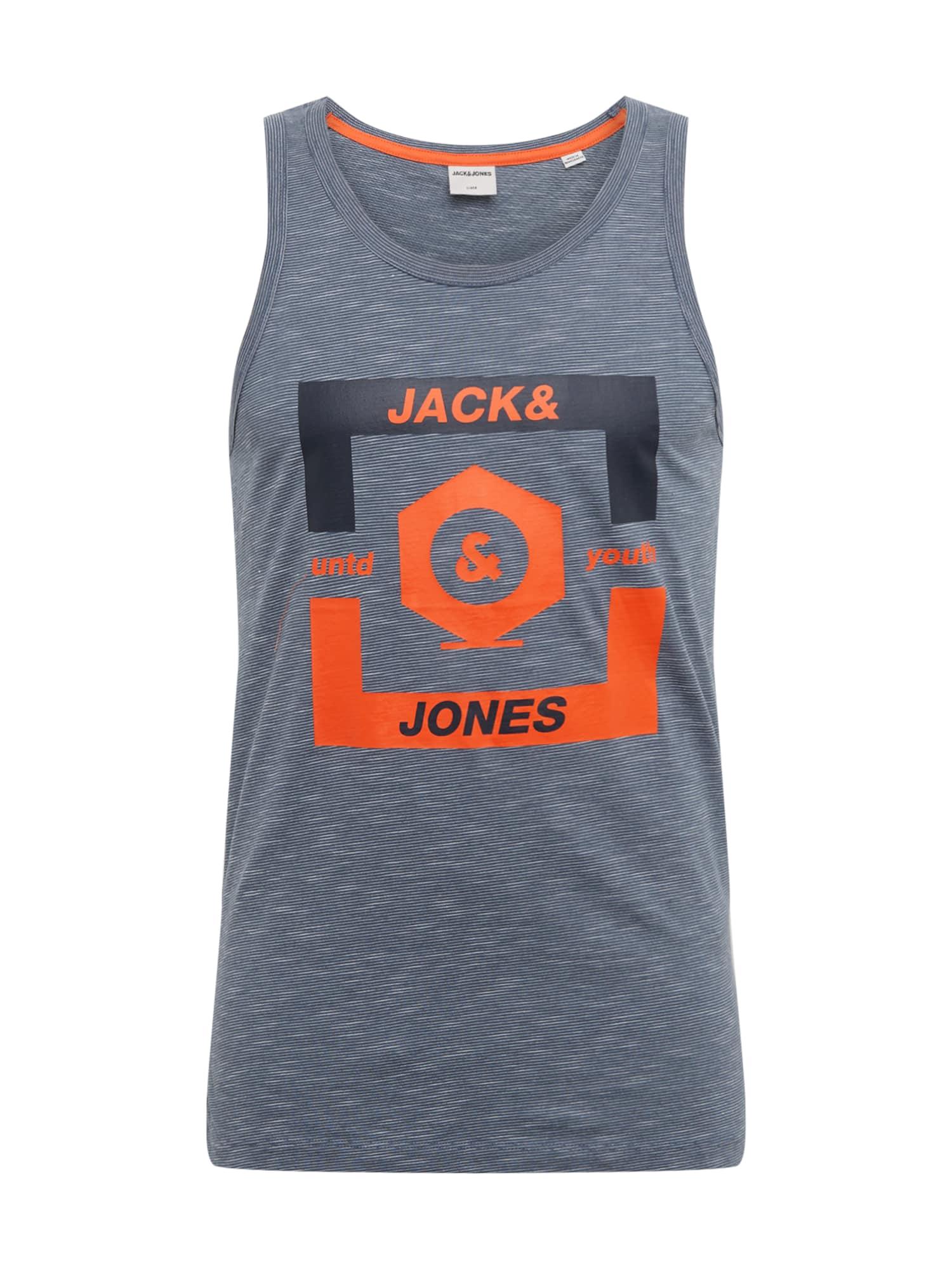 JACK & JONES Tričko 'JCOSTRONG TANKTOP'  sivá melírovaná / neónovo oranžová / oranžová
