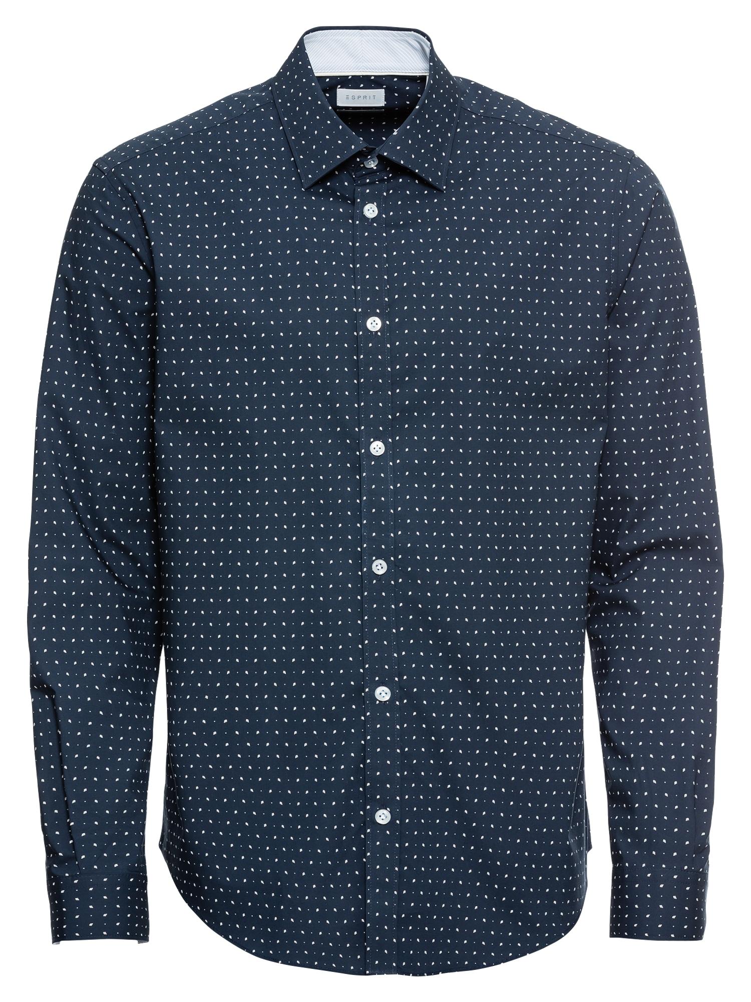 Košile 60s AOP LS námořnická modř bílá Esprit Collection