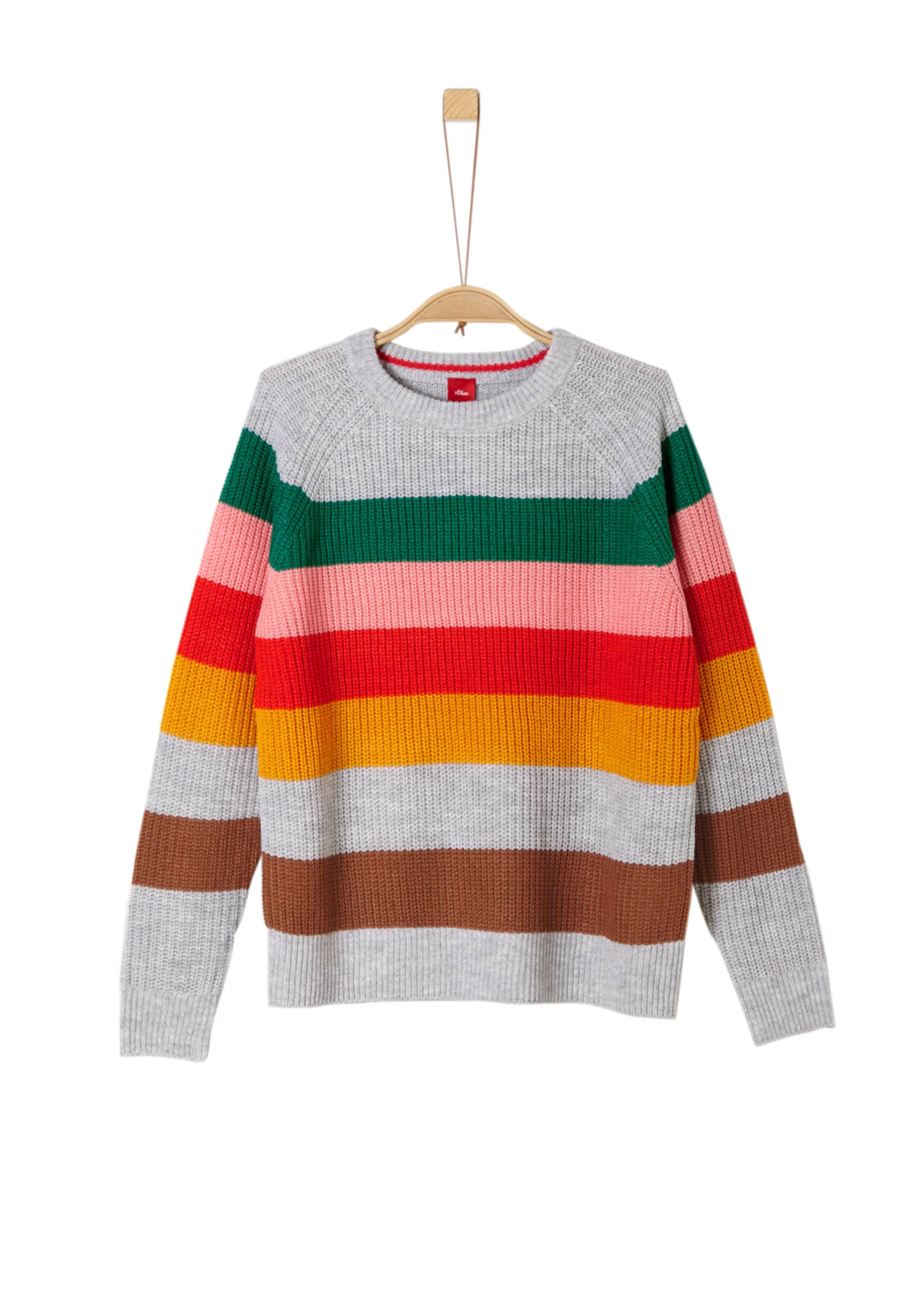 Kinder,  Mädchen,  Kinder S.Oliver Junior Strickpullover grau,  grün,  orange,  pink,  rot | 04057318300014