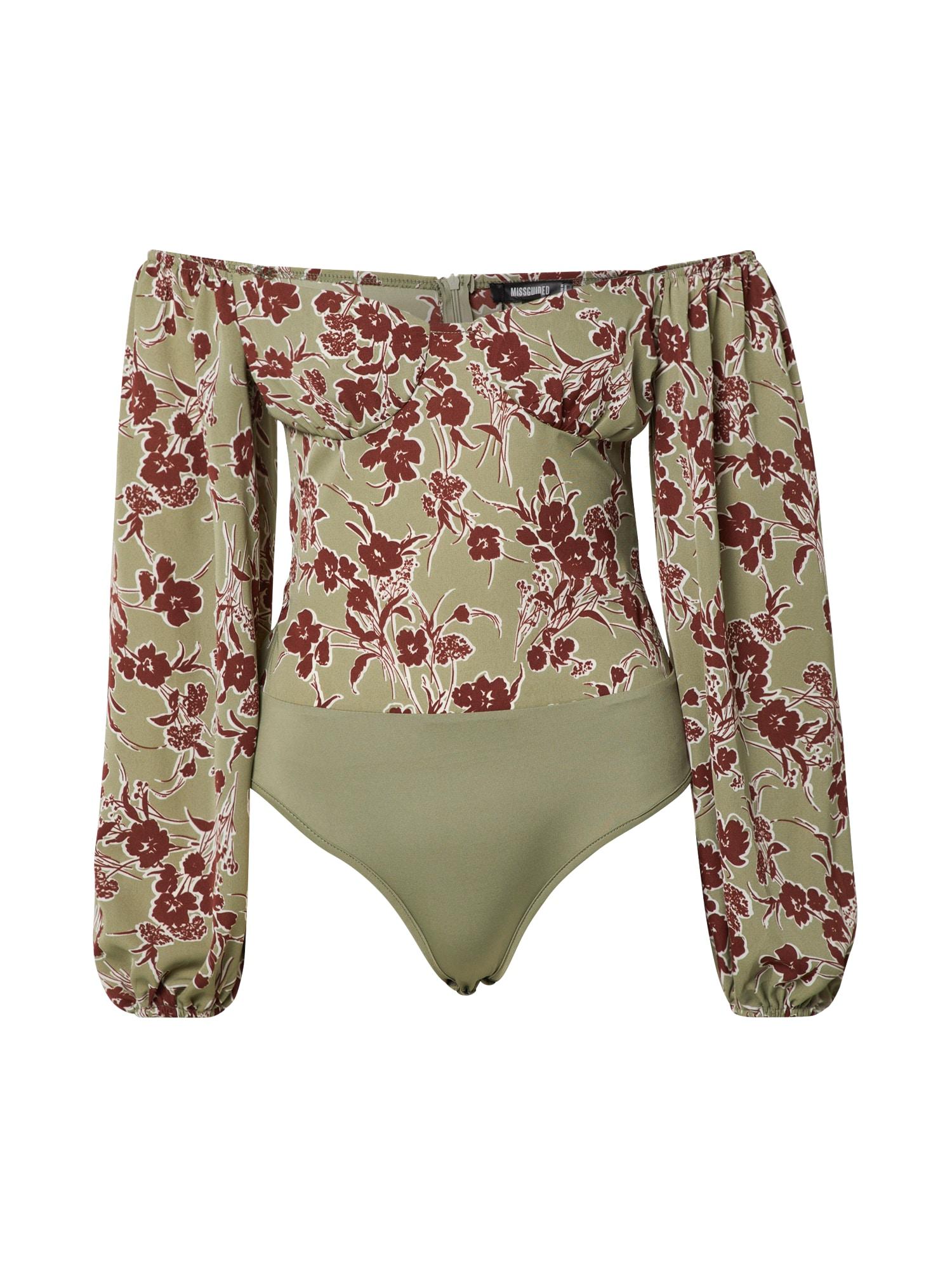 Missguided Marškinėliai-glaustinukė 'Floral Milkmaid' rusvai žalia / vyno raudona spalva