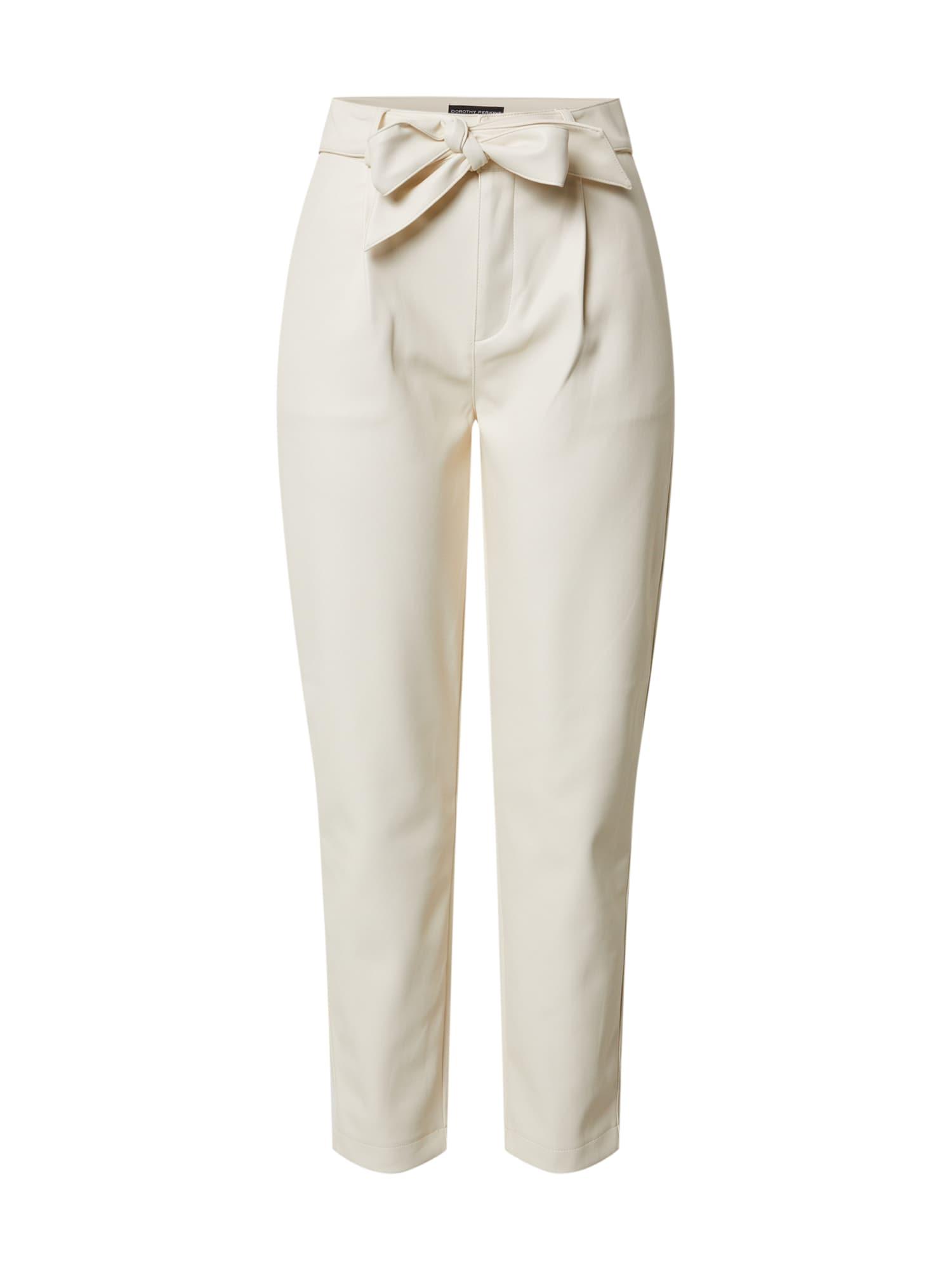 Dorothy Perkins Plisované nohavice 'Cream PU Belted Trouser'  krémová