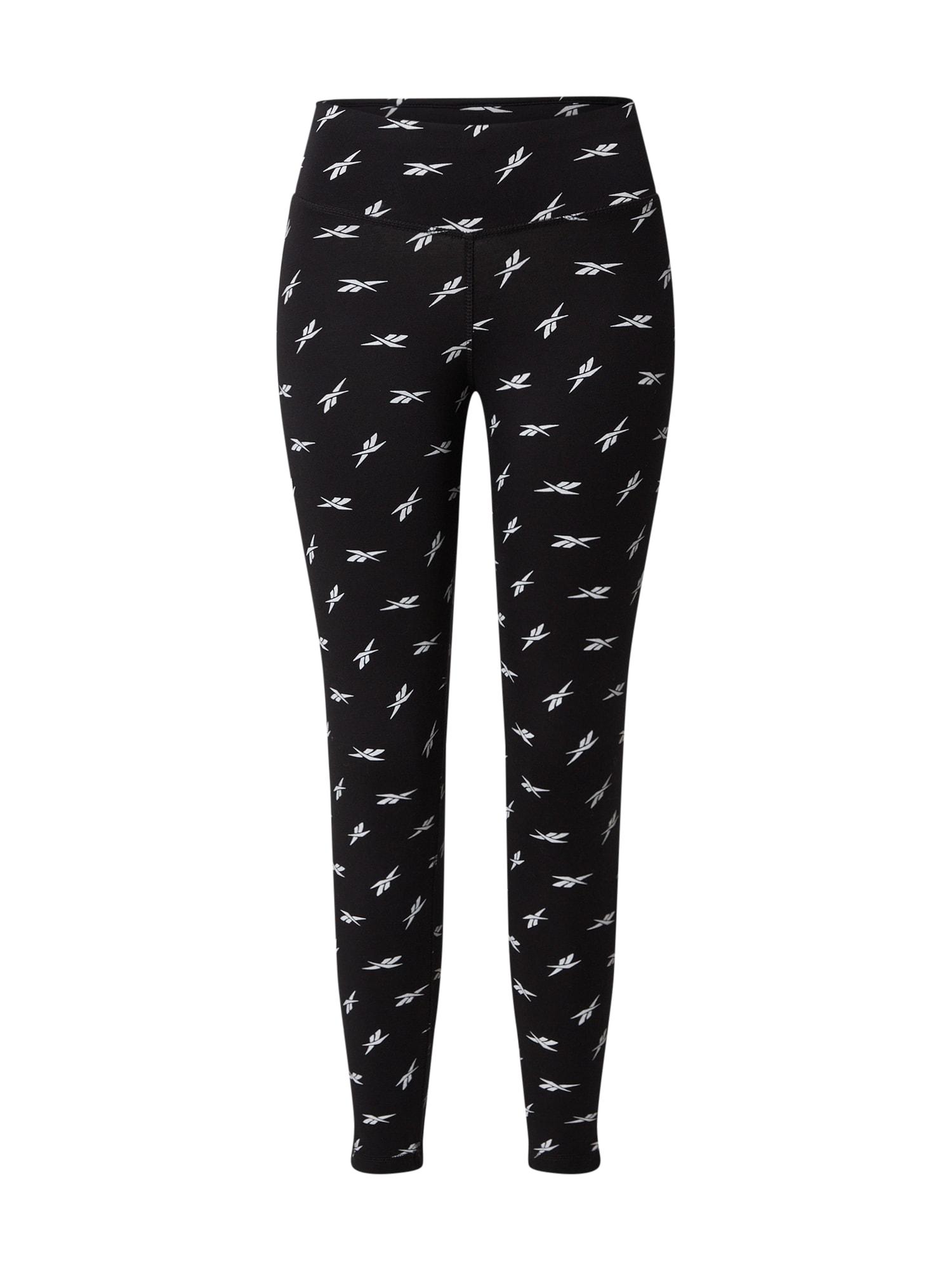 REEBOK Športové nohavice 'Vector'  biela / čierna
