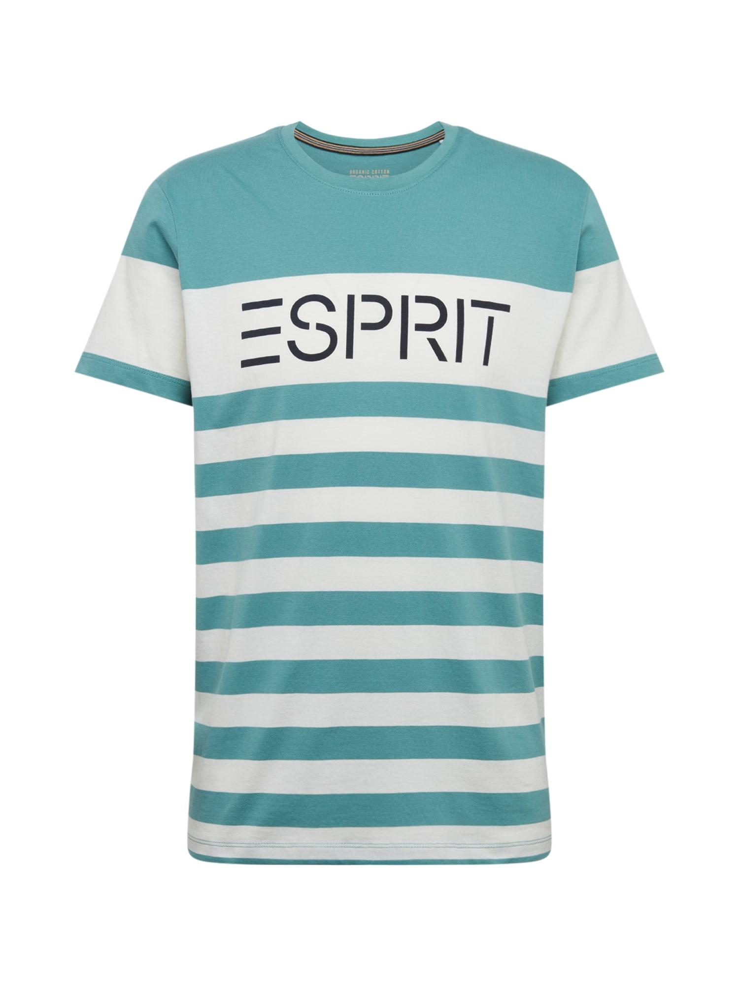 ESPRIT Marškinėliai vandens spalva / balta