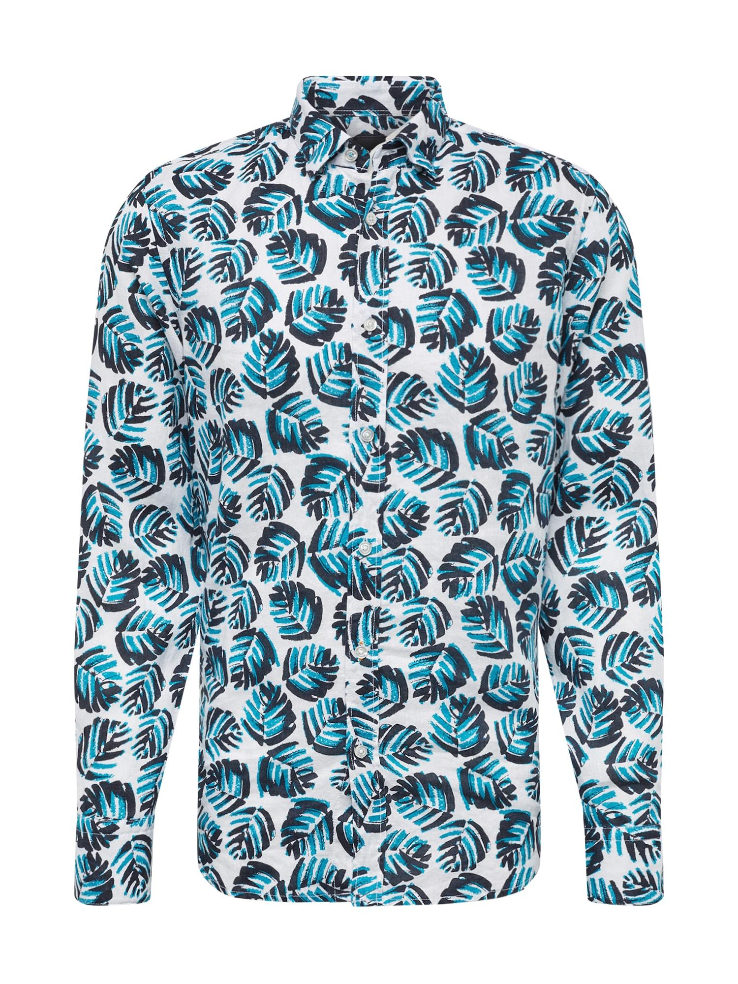 BOSS Dalykiniai marškiniai 'Relegant' mėlyna / balta