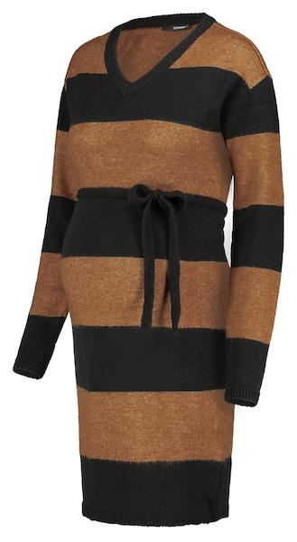 Schwangerschaftsmode für Frauen - Kleid 'Block Stripe › Supermom › cognac schwarz  - Onlineshop ABOUT YOU
