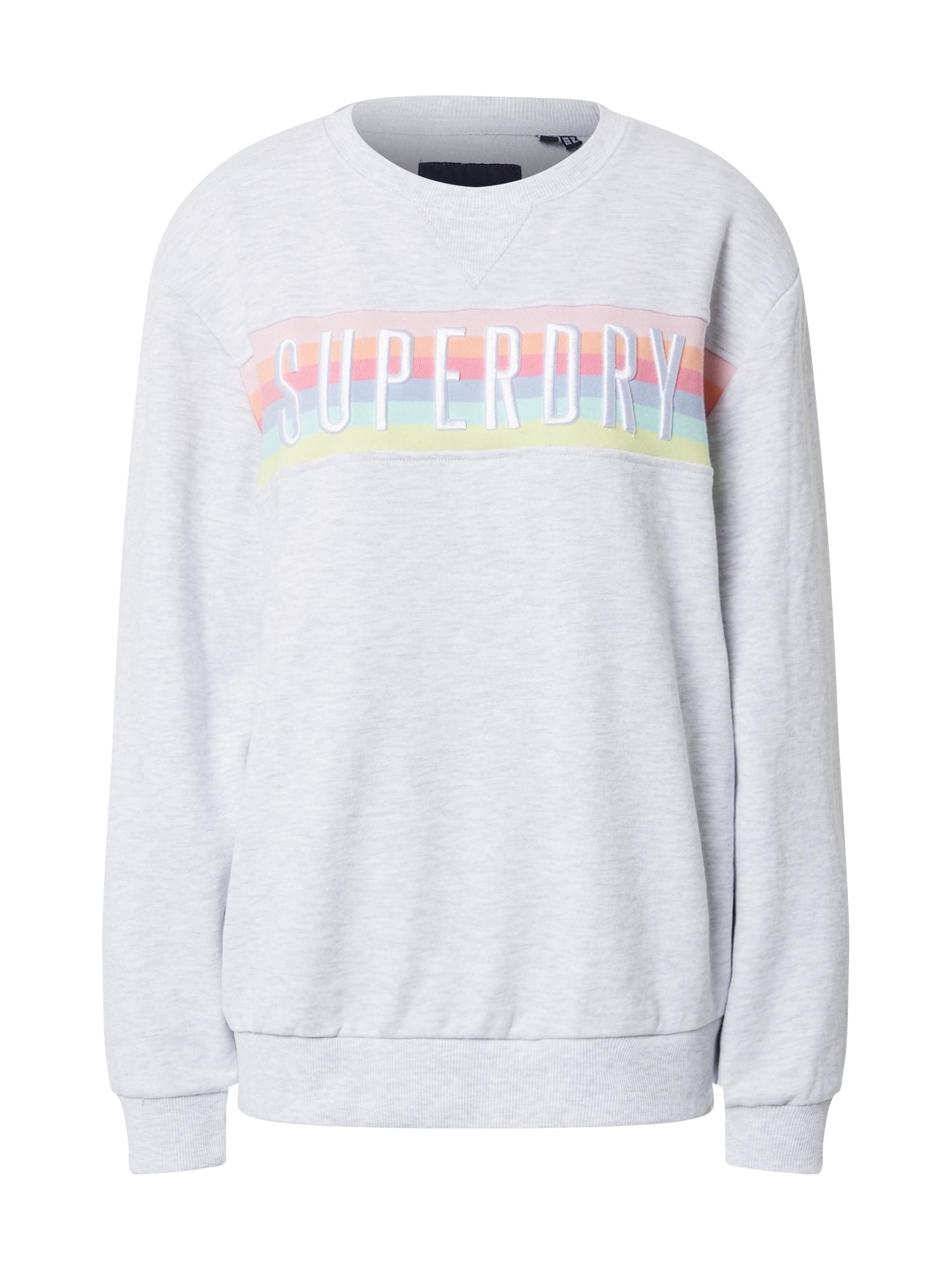 Superdry Mikina 'RAINBOW'  ružová / biela