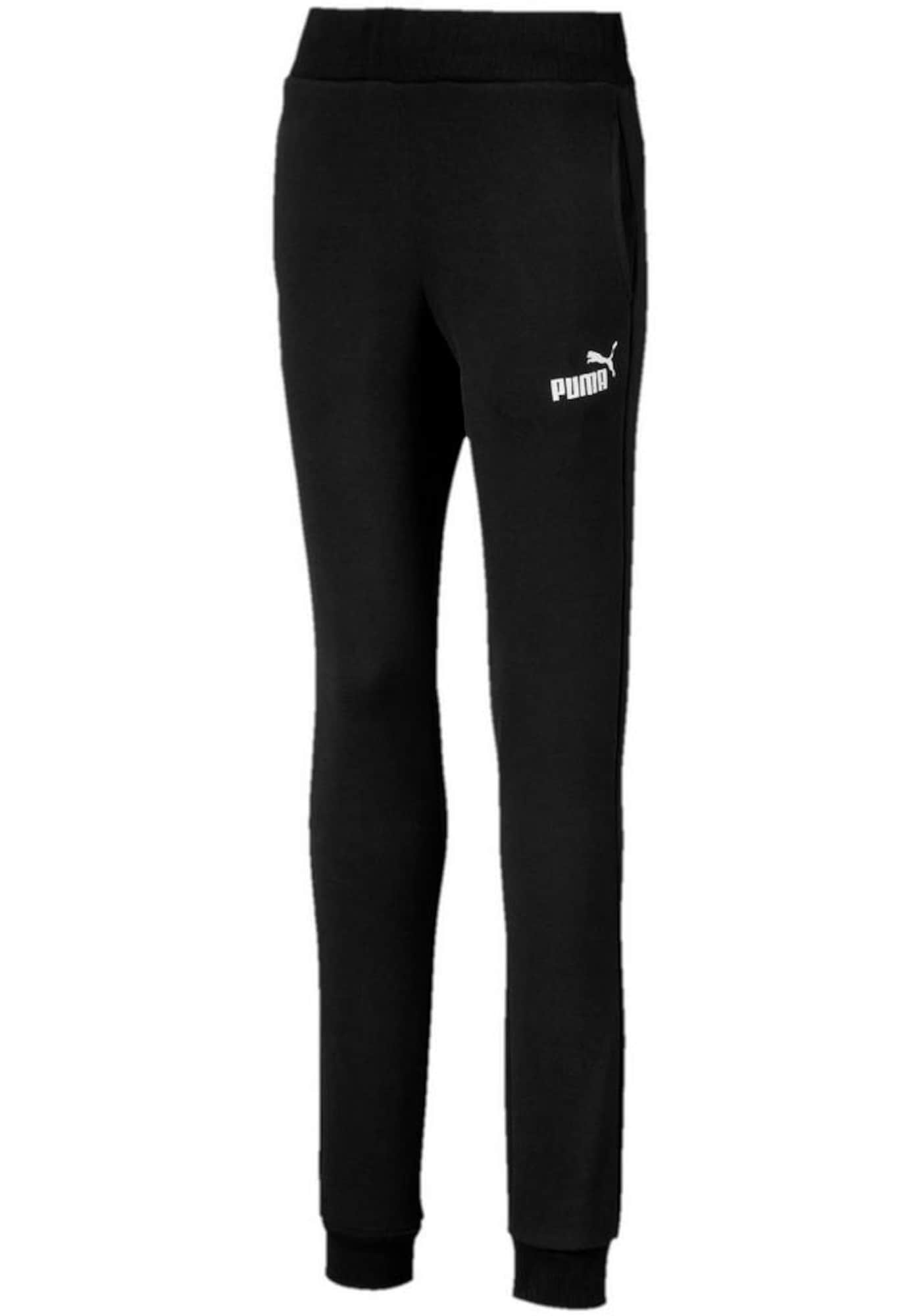 PUMA Sportinės kelnės 'Essentials' juoda / balta