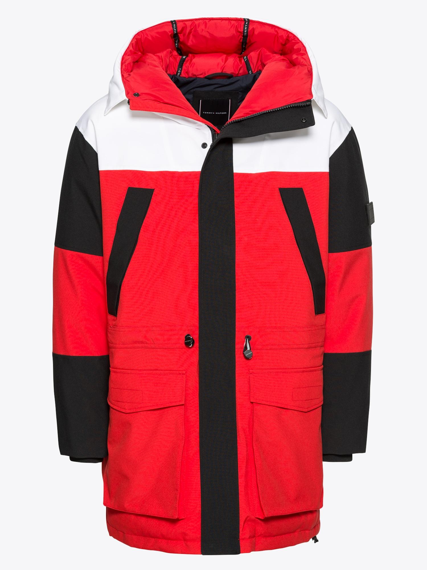 Winterjas Wit Heren.Tommy Hilfiger Heren Winterjas Colourblock Rood Zwart Wit