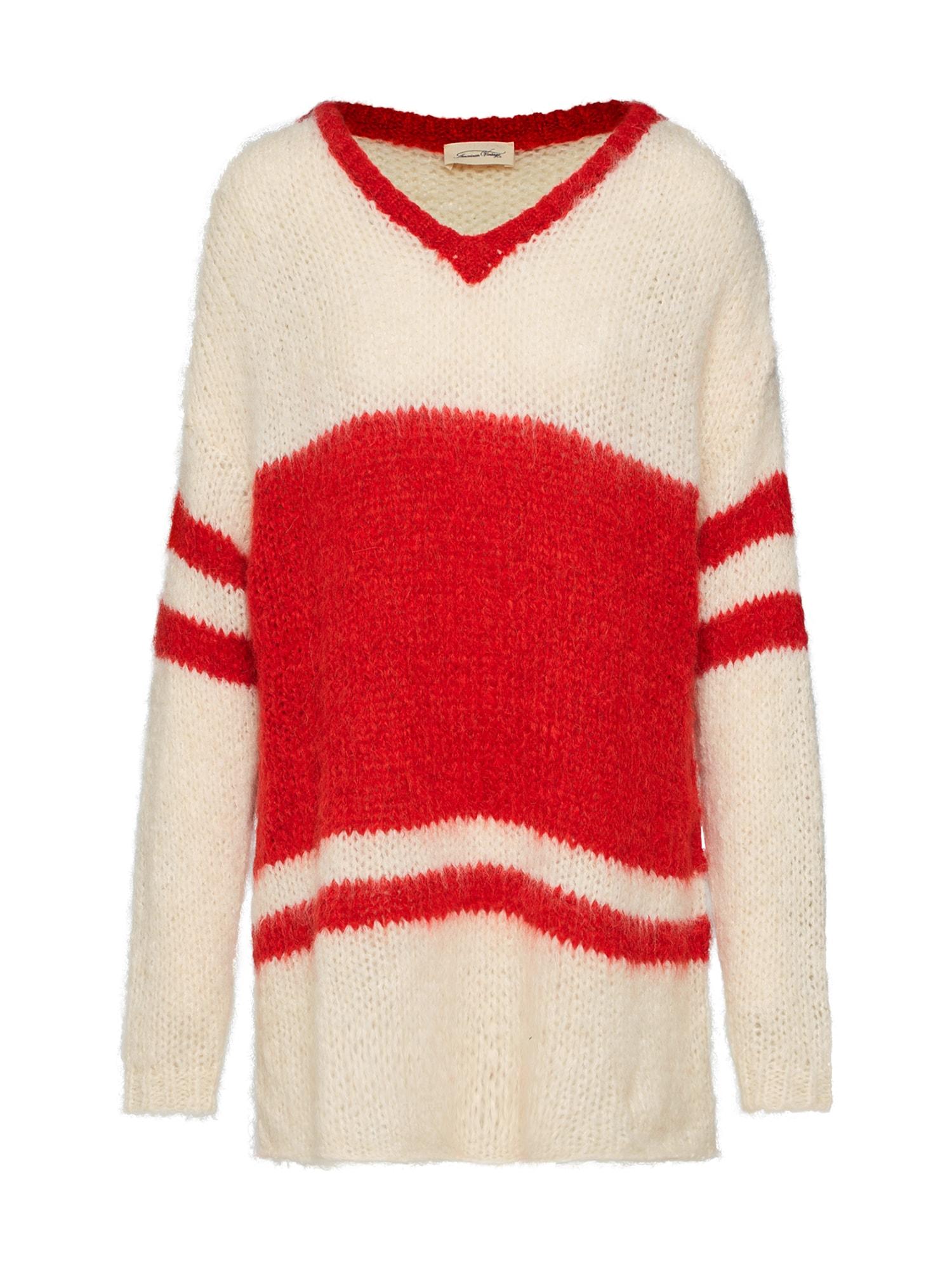 Maxi svetr MANINA červená bílá AMERICAN VINTAGE