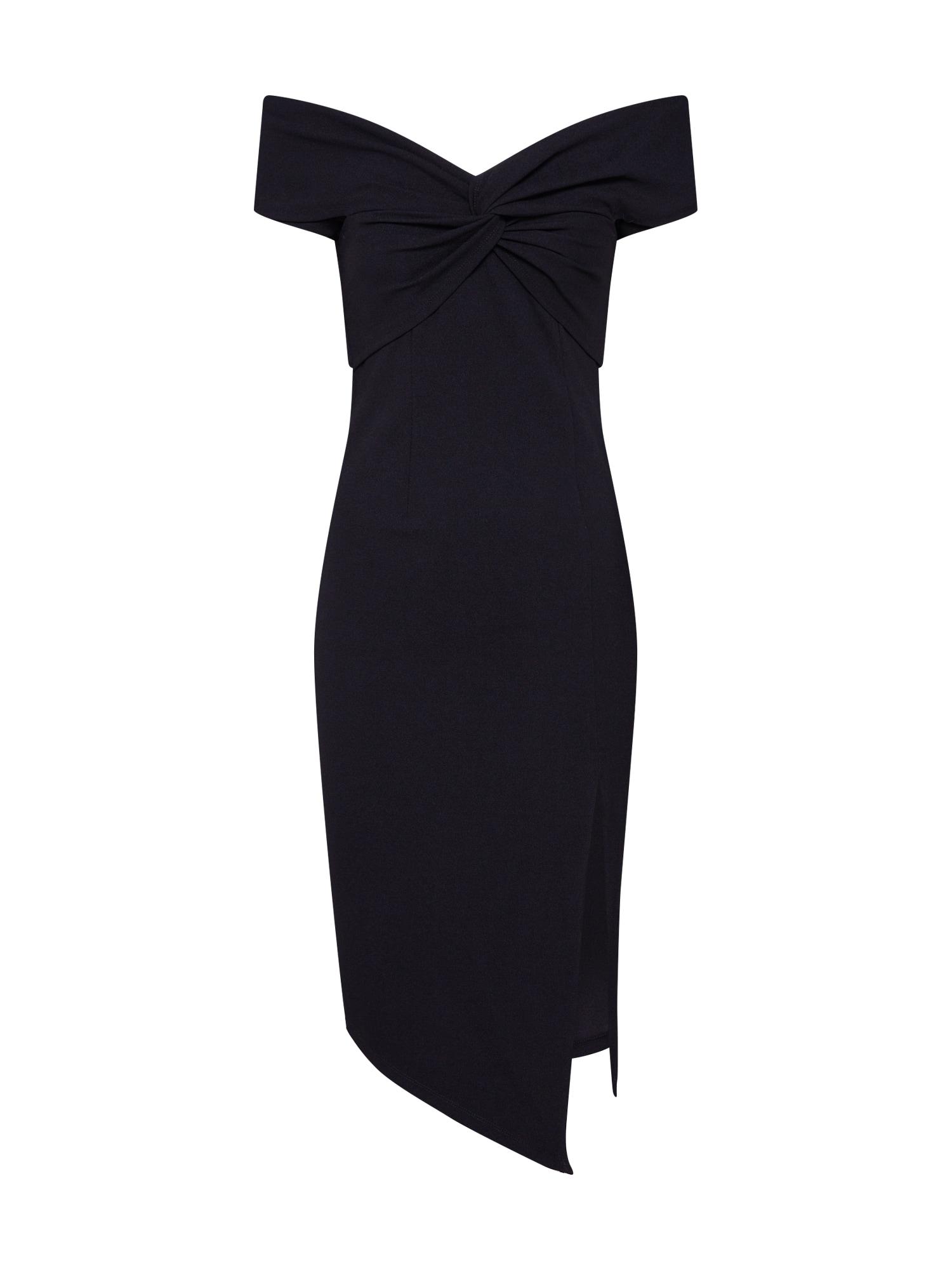 Koktejlové šaty TWIST FRONT MIDI DRESS černá Parallel Lines