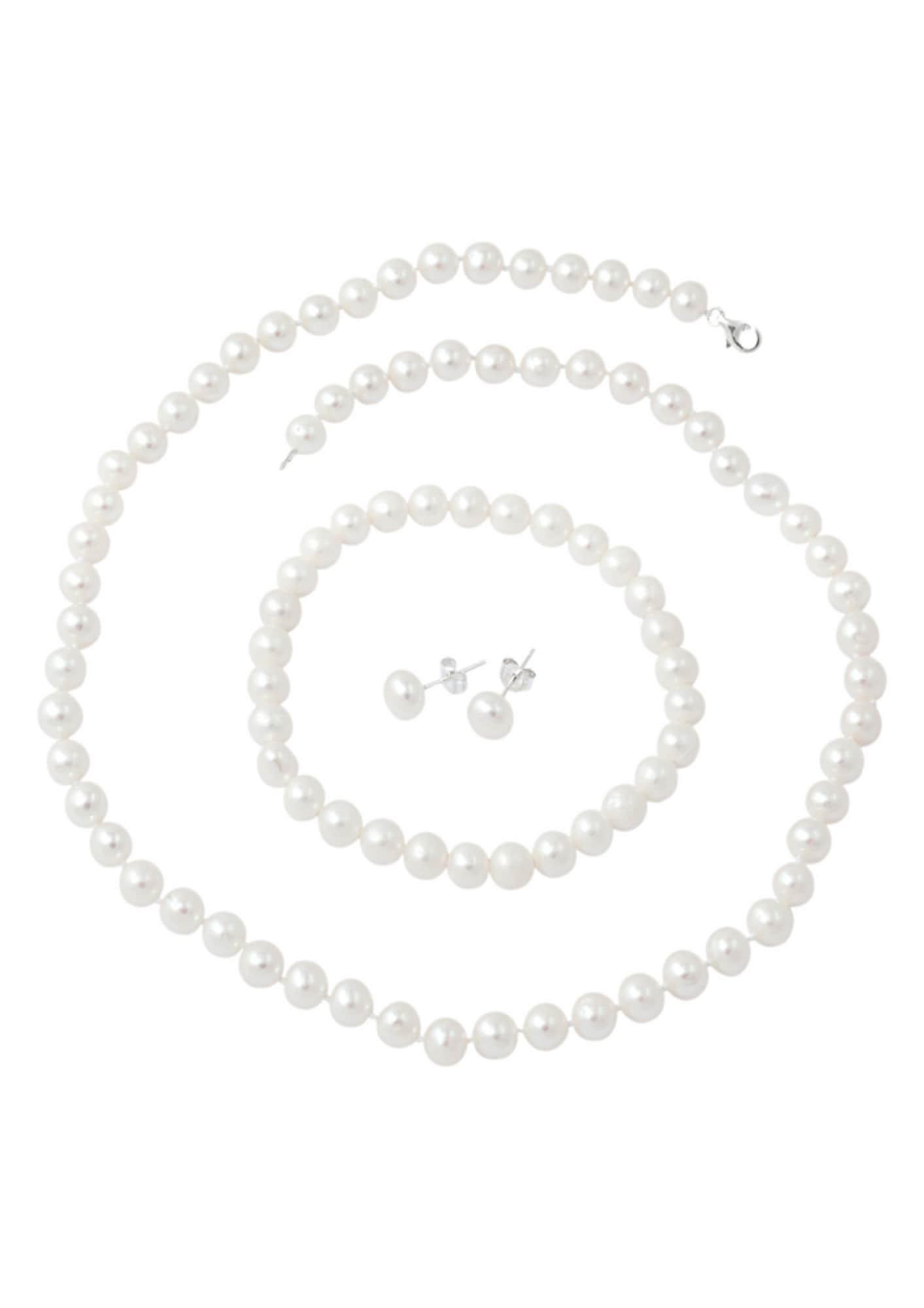 Schmucksets für Frauen - FIRETTI firetti Schmuckset Kette, Armband und Ohrstecker mit Perlen (4tlg.) silber  - Onlineshop ABOUT YOU