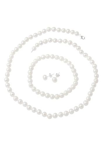 Armbaender für Frauen - FIRETTI firetti Schmuckset Kette, Armband und Ohrstecker mit Perlen (4tlg.) silber  - Onlineshop ABOUT YOU