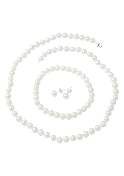 Armbaender für Frauen - FIRETTI Kette, Armband und Ohrstecker mit Perlen (4tlg.) silber  - Onlineshop ABOUT YOU