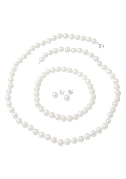 Armbaender - Kette, Armband und Ohrstecker mit Perlen (4tlg.) › FIRETTI › silber  - Onlineshop ABOUT YOU