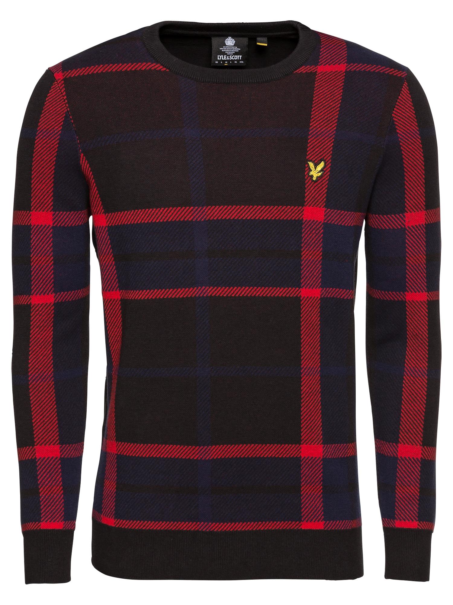 Svetr Tartan Jumper modrá červená černá Lyle & Scott