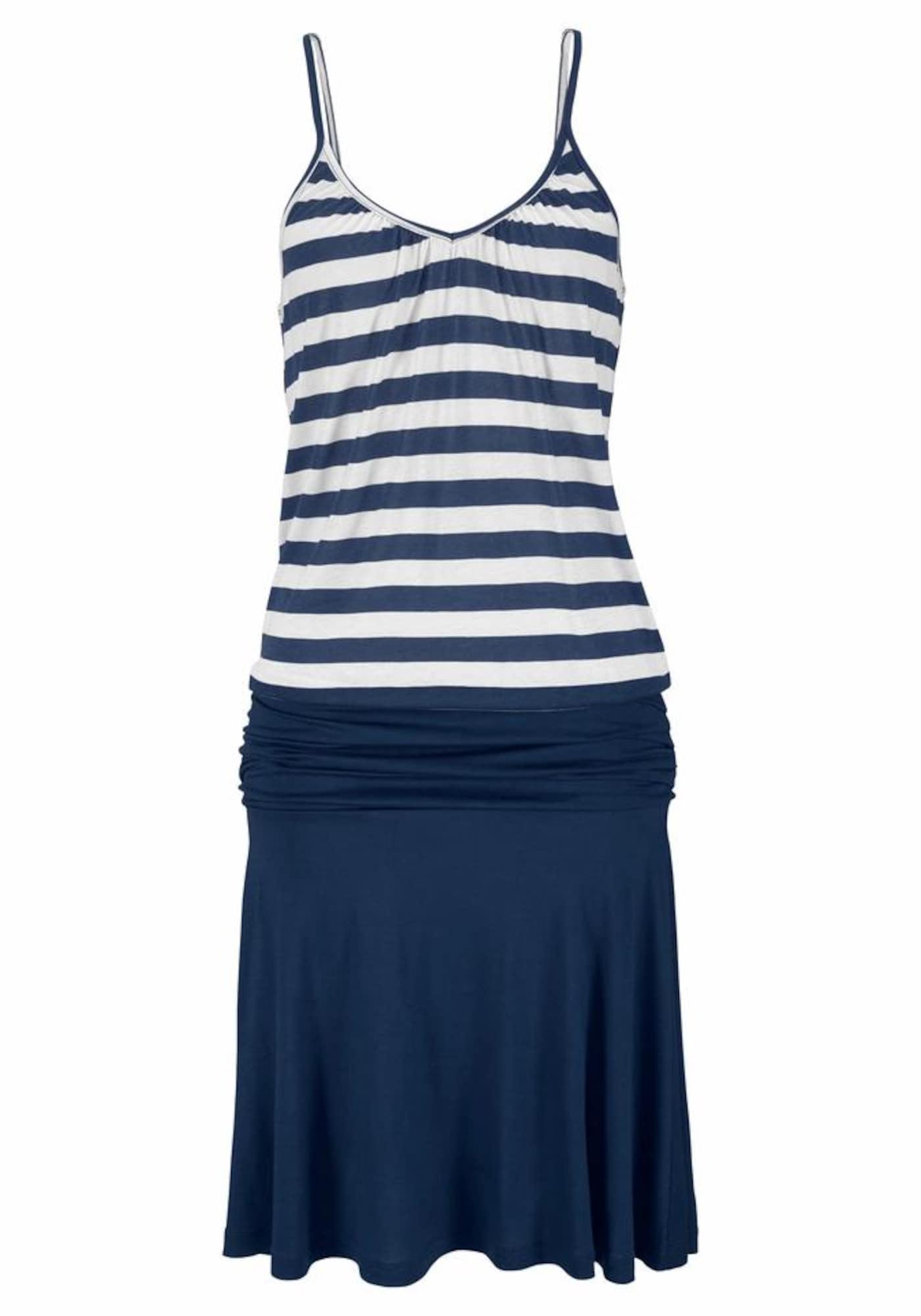 BEACH TIME Paplūdimio suknelė mėlyna / natūrali balta