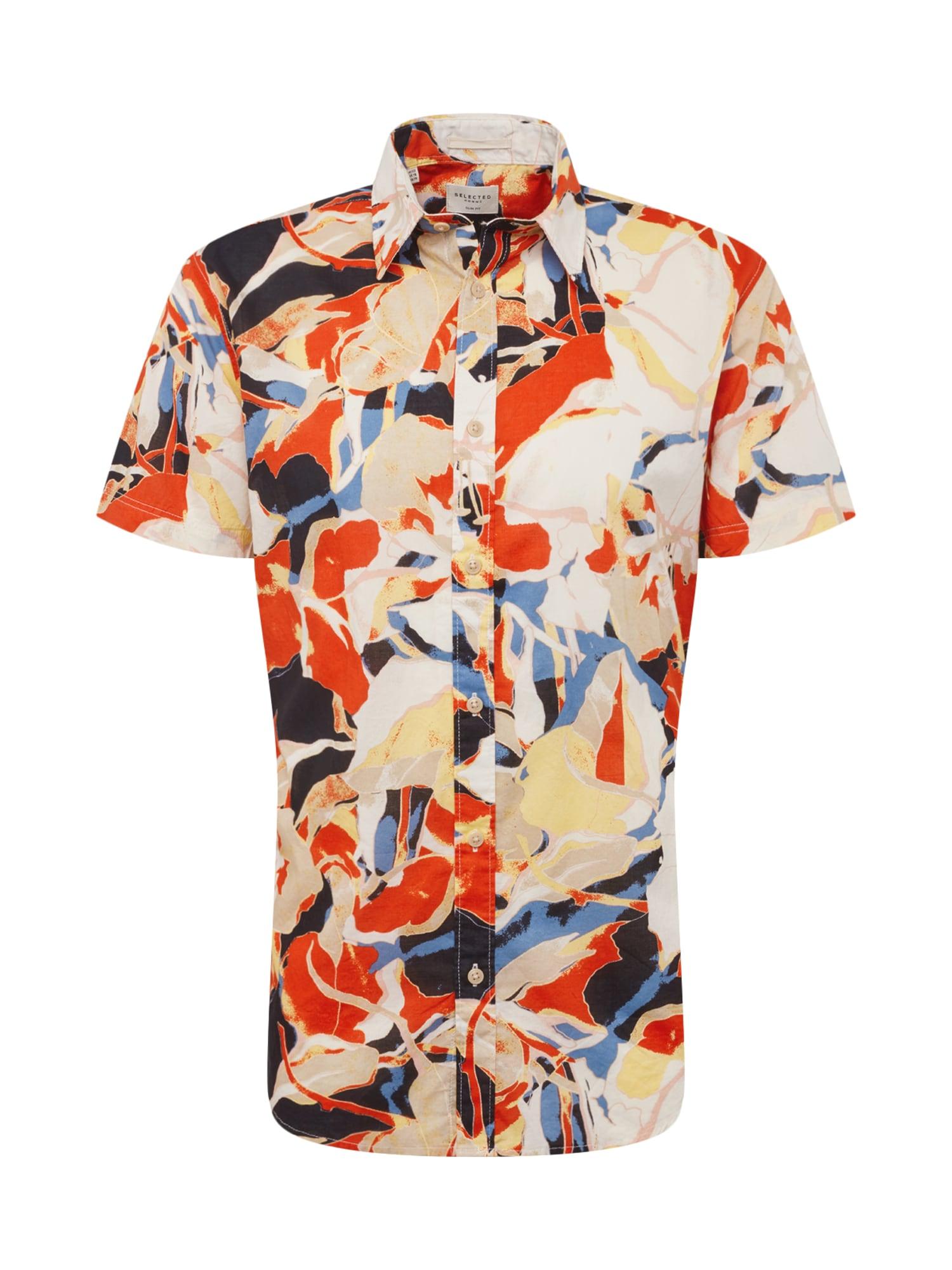 Košile TOKYO béžová oranžová červená SELECTED HOMME