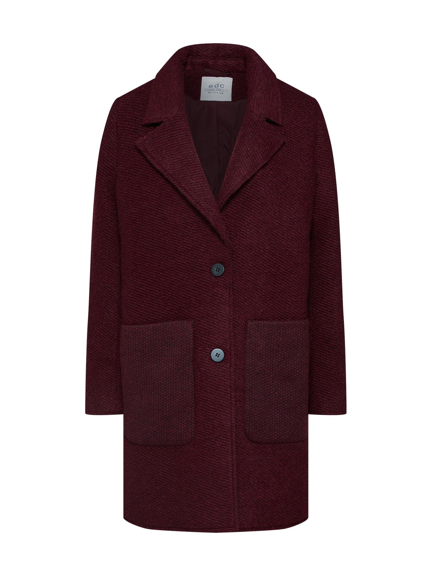 EDC BY ESPRIT Žieminis paltas 'Knitted wool' vyšninė spalva