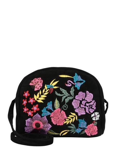 Schultertaschen für Frauen - PIECES Bestickte Umhängetasche 'PCDebbie' mischfarben schwarz  - Onlineshop ABOUT YOU