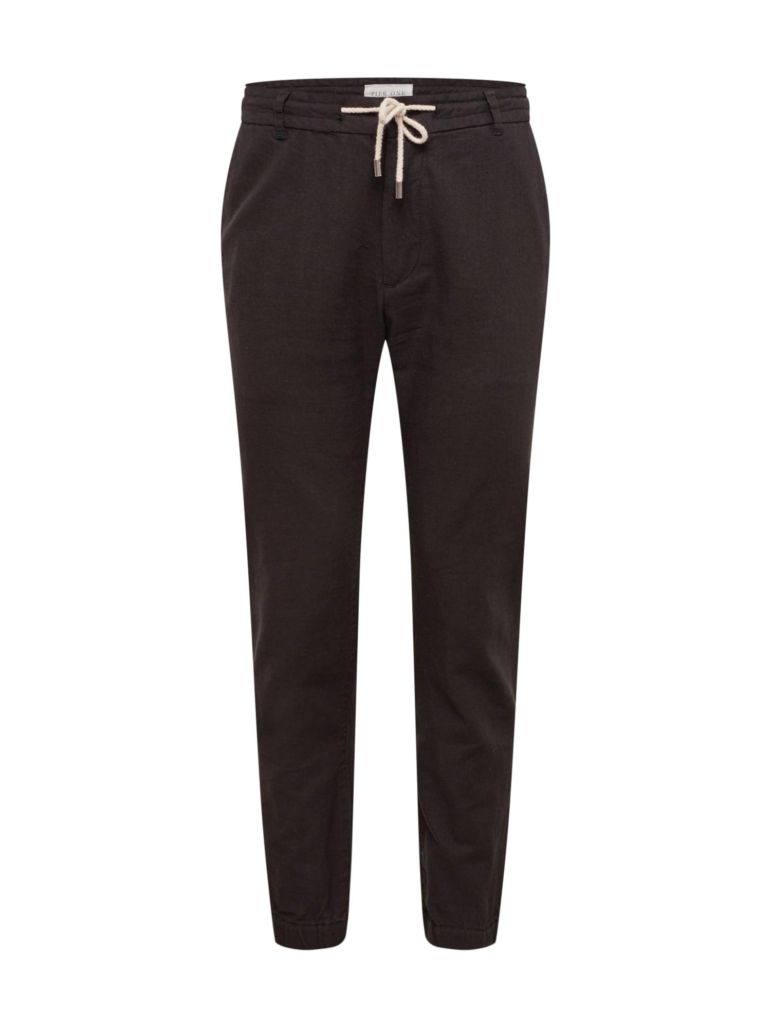 Kalhoty Linen Blend Jogger černá Pier One