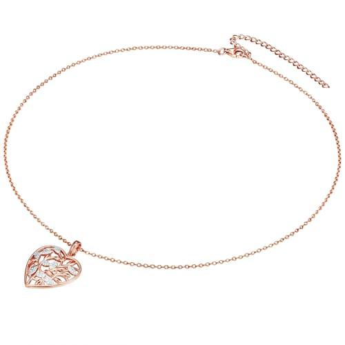 Ketten für Frauen - Rafaela Donata Silberhalskette mit glitzerndem Zirkonia rosegold weiß  - Onlineshop ABOUT YOU