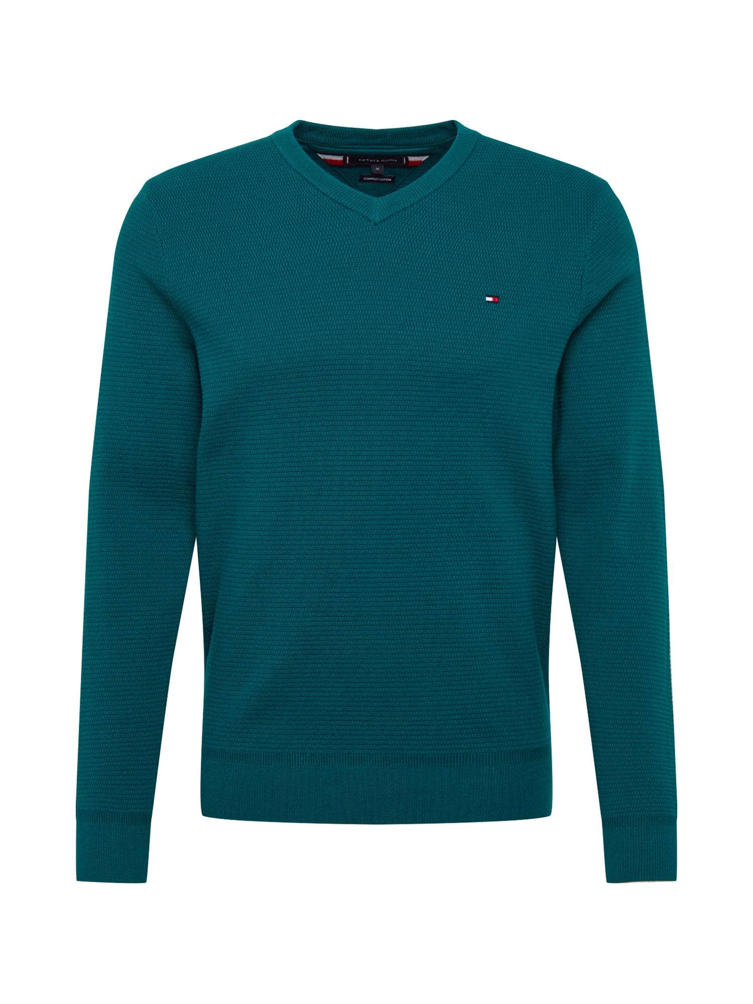TOMMY HILFIGER Megztinis smaragdinė spalva