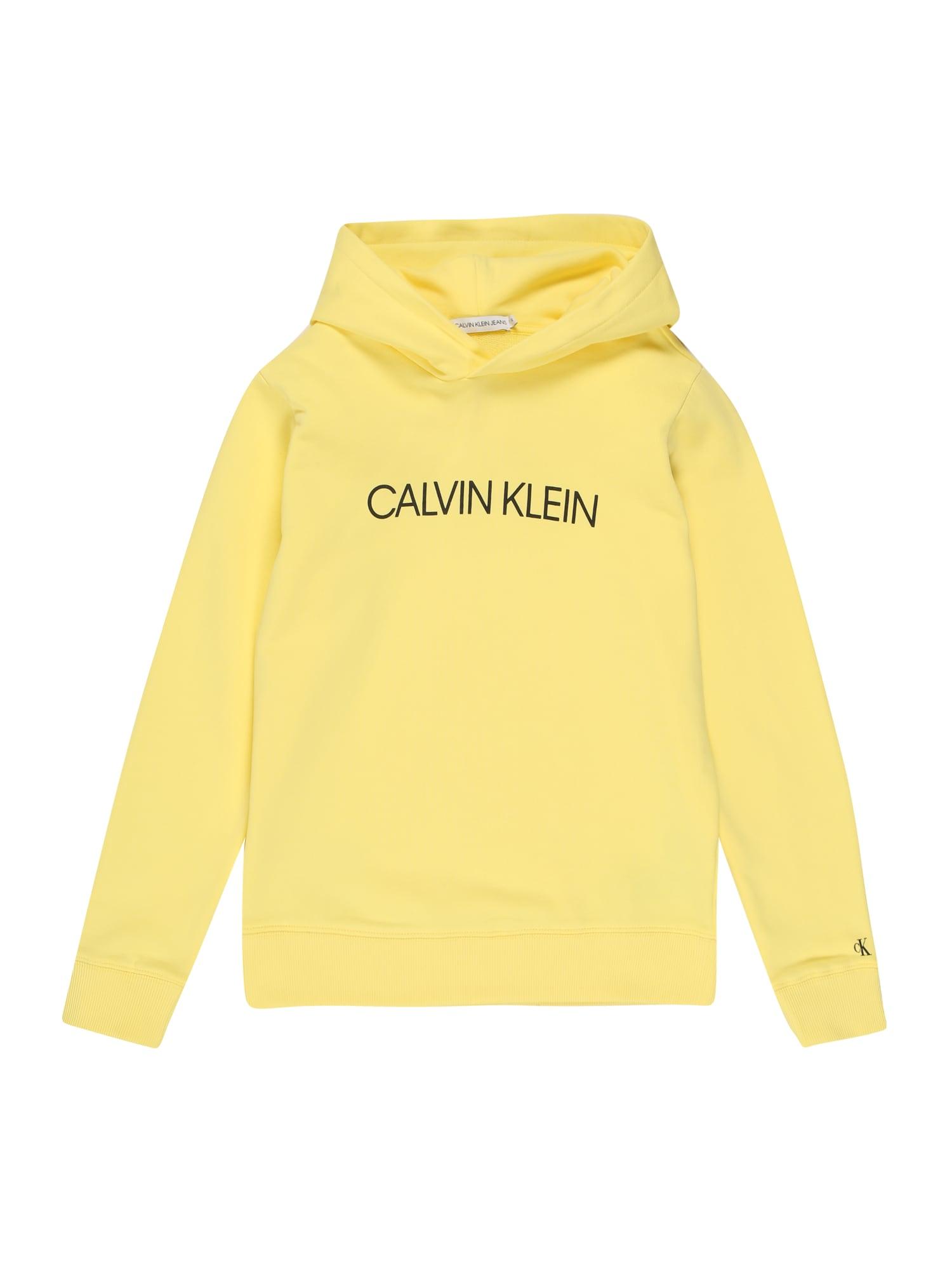 Calvin Klein Jeans Megztinis be užsegimo 'INSTITUTIONAL LOGO' geltona / juoda