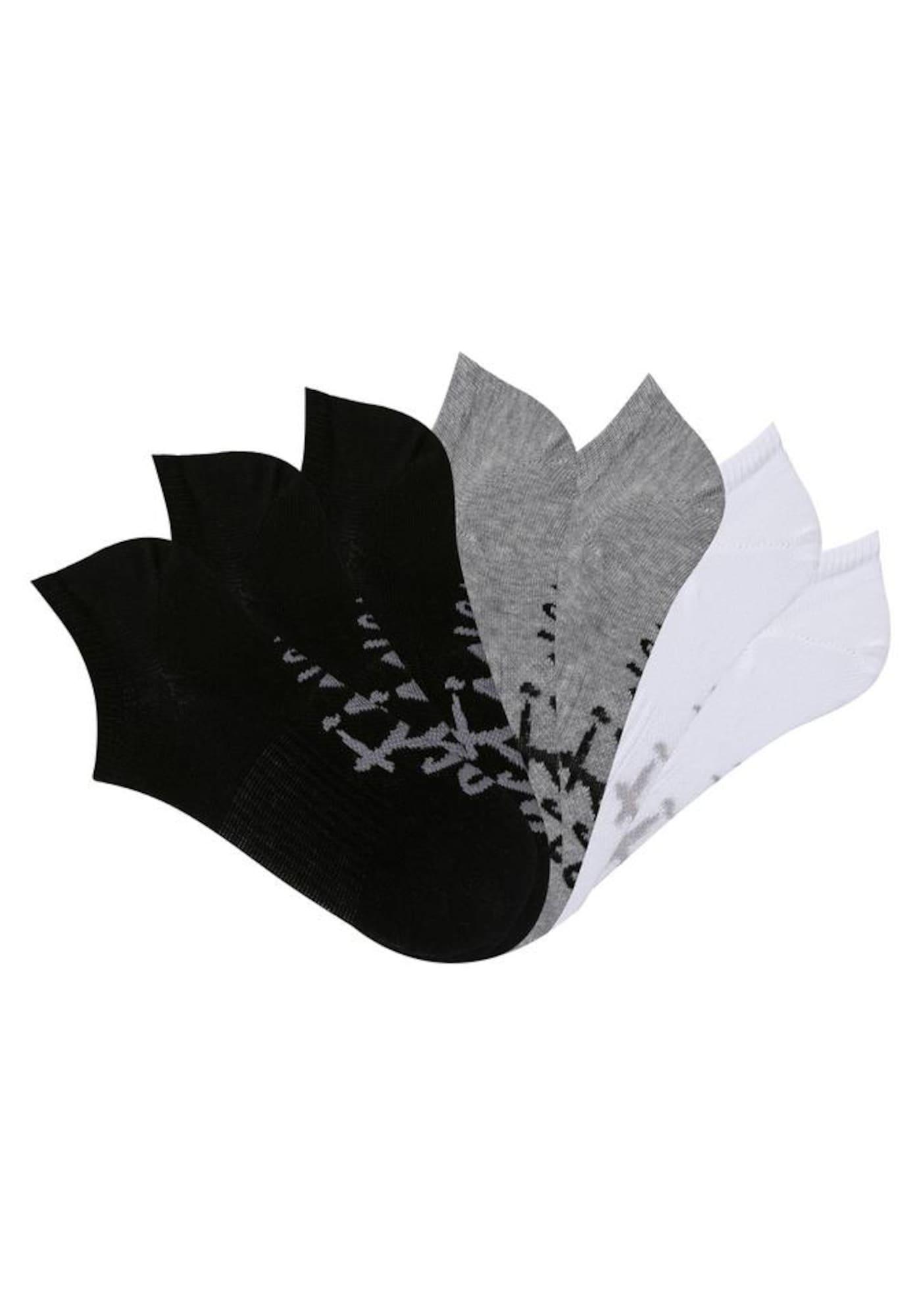 LASCANA ACTIVE Sportinės kojinės margai pilka / juoda / balta