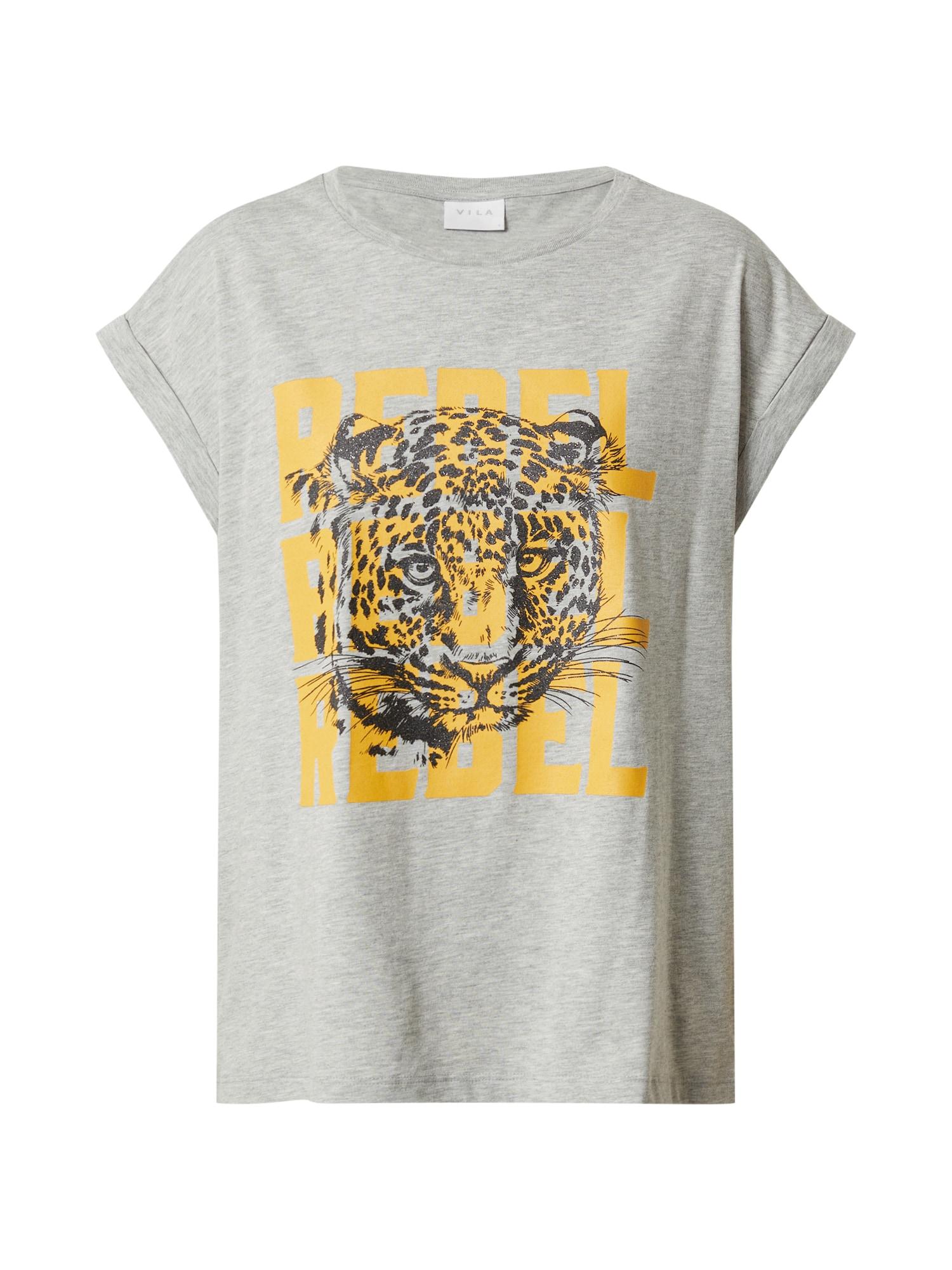 VILA Tričko 'Dulta'  sivá melírovaná / žlté / čierna