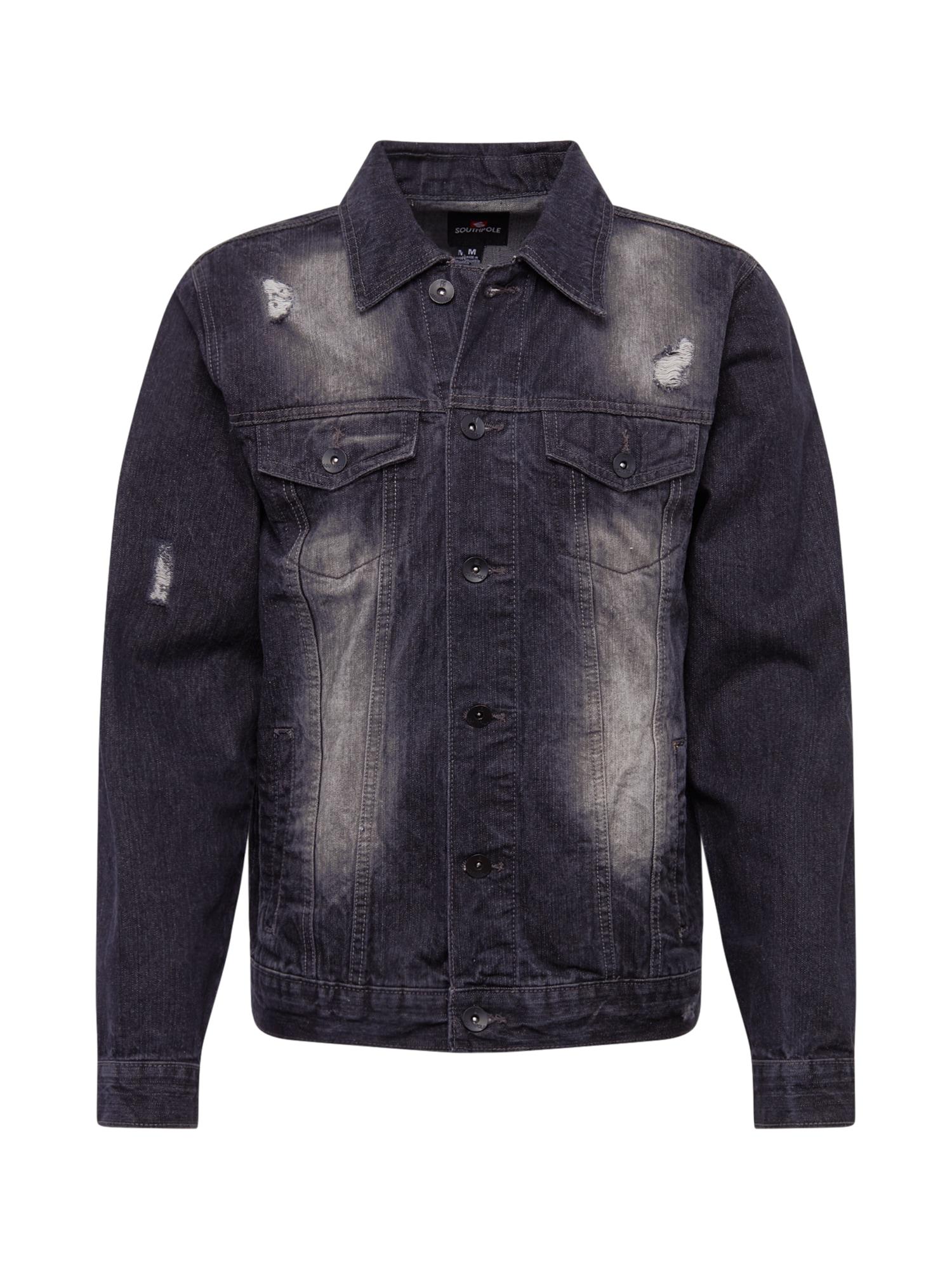 SOUTHPOLE Demisezoninė striukė juodo džinso spalva
