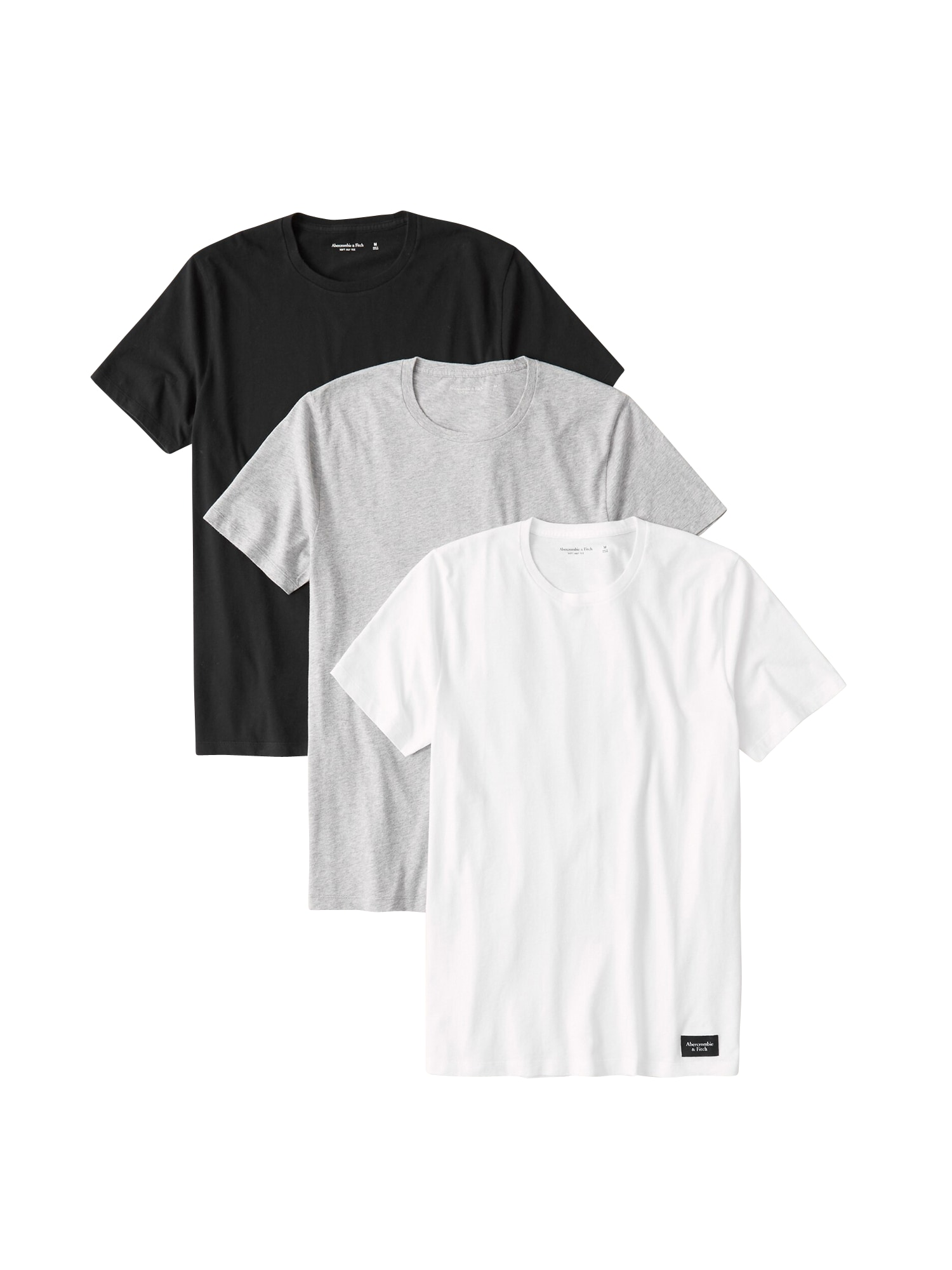 Abercrombie & Fitch Marškinėliai 'CREW MULTIPACK' balta / juoda / pilka