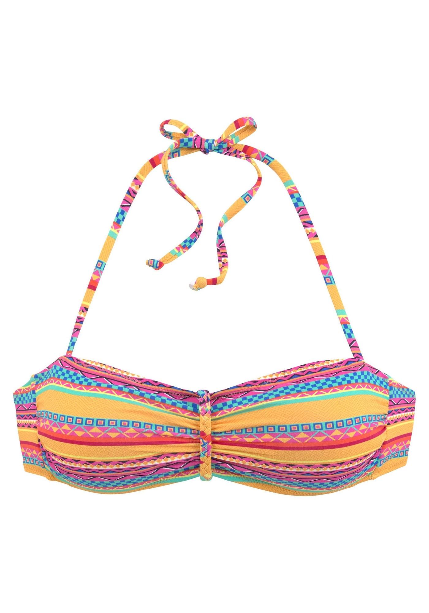 BUFFALO Bikinio viršutinė dalis 'Lux' mėlyna / geltona / oranžinė / rožinė