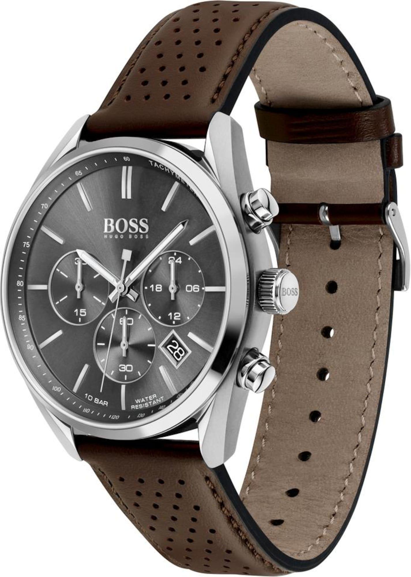 BOSS Analoginis (įprasto dizaino) laikrodis 'CHAMPION' tamsiai ruda / sidabrinė
