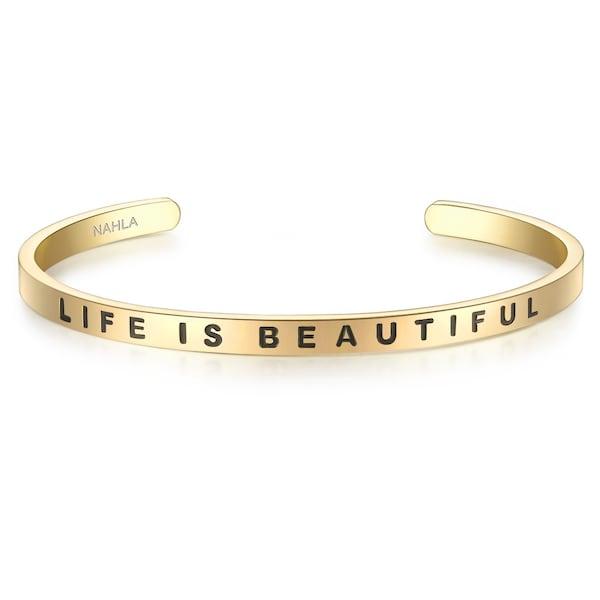 Armbaender für Frauen - Nahla Jewels Armband mit LIFE IS BEAUTIFUL Schriftzug gold  - Onlineshop ABOUT YOU