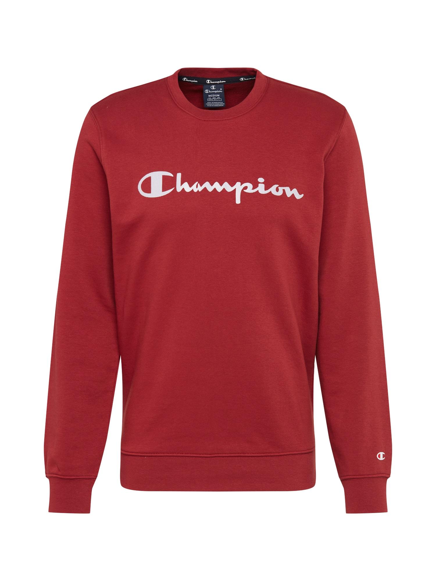 Champion Authentic Athletic Apparel Megztinis be užsegimo 'CREWNECK SWEATSHIRT' balta / vyno raudona spalva