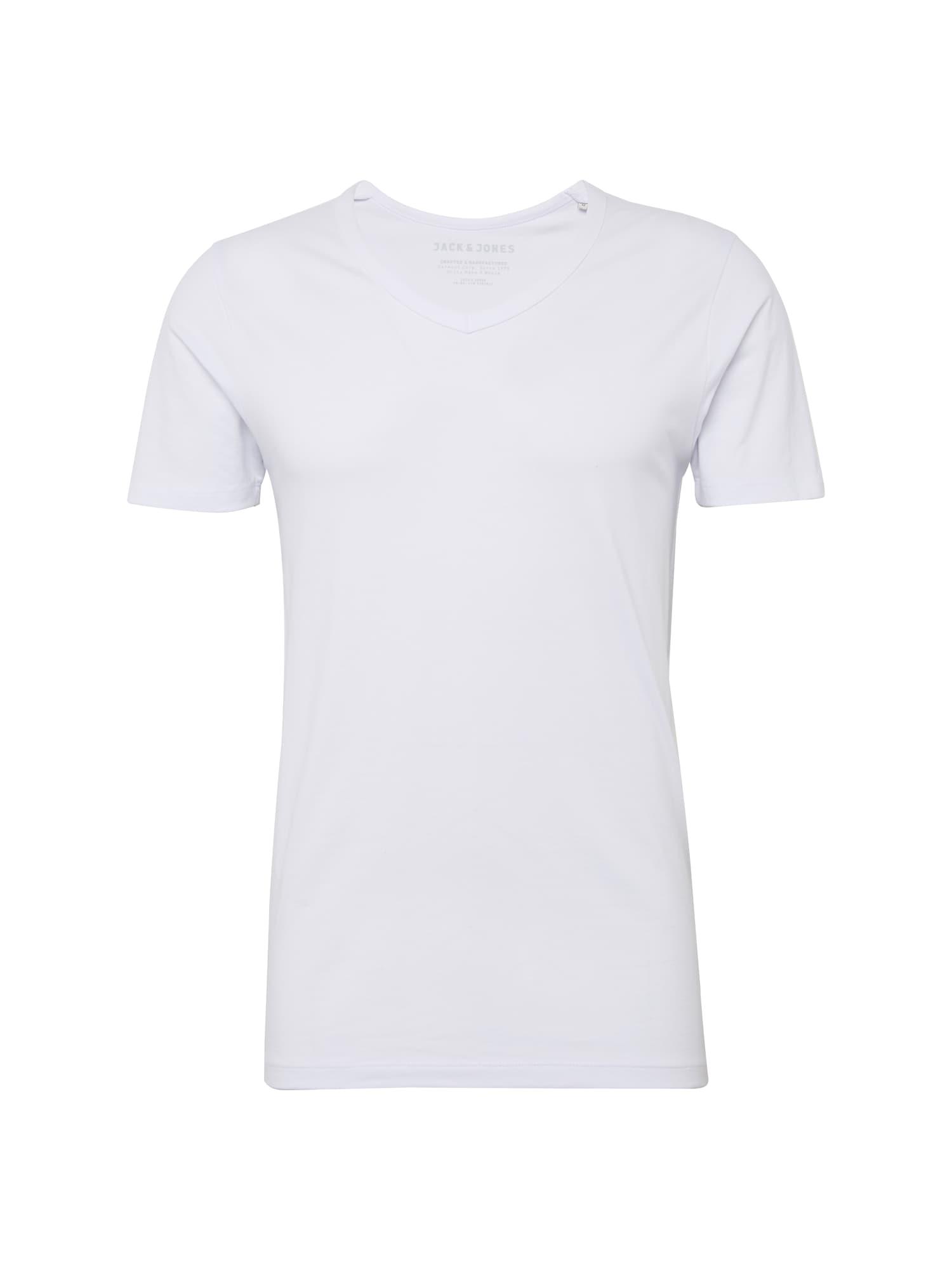 JACK & JONES Marškinėliai 'BASIC V-NECK TEE S/S NOOS' balta